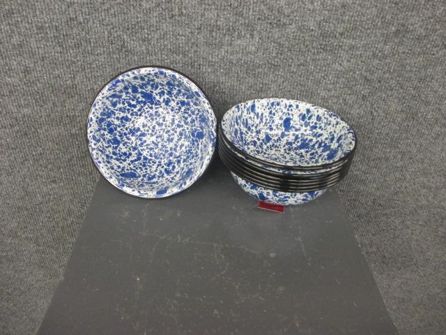 Blue Enamelware Spatterware Cereal Bowl