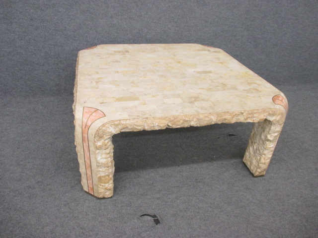 Maitland Smith Tesselated Stone Cocktail Table w/ Pink Coral Inlay