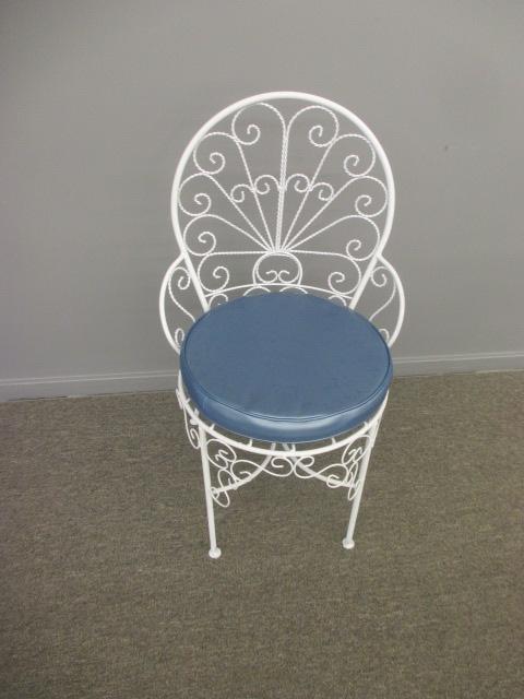 White Metal Chair with Blue cushion