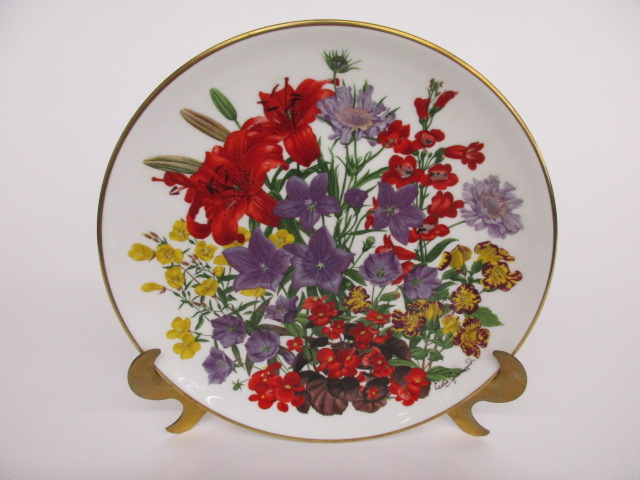 Franklin Porcelain Flowers of the Year Plate Collection JULY