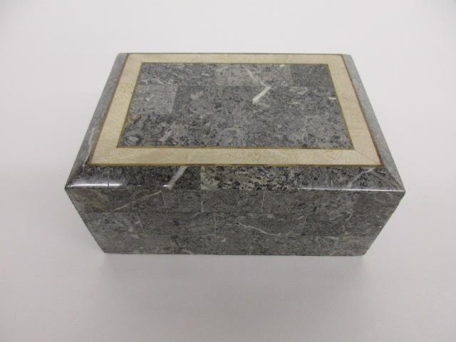 Gray Stone Box w Mahogany Lining