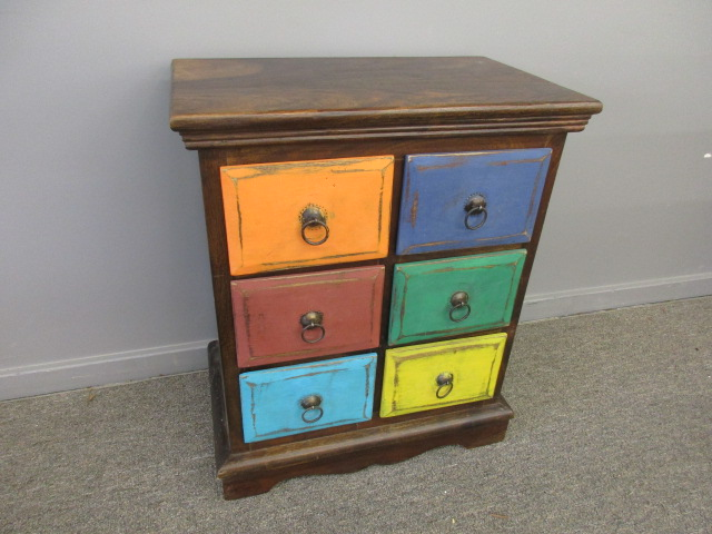 End Table w/ Multi-Color 6 Drawers