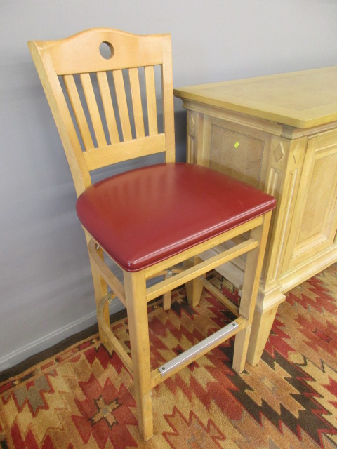 Light Wood Bar Stool w/ Red Upholstered Seat