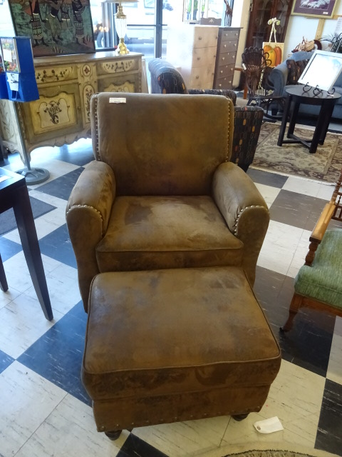 Brown Suede Chair with Storage Ottoman