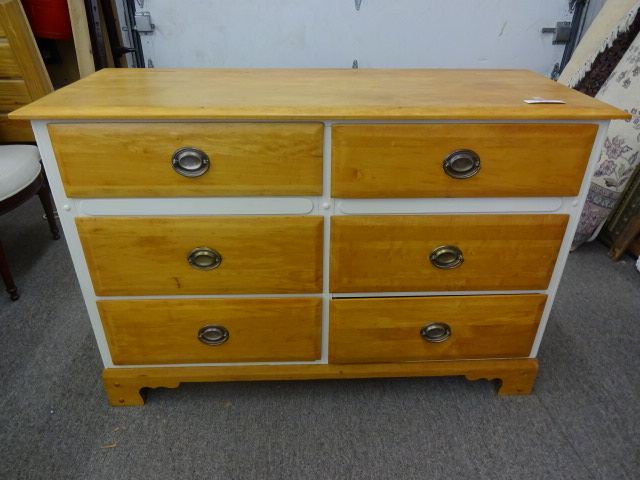 White Painted Chest w/ Natural Wood Top, Drawers & Plinth