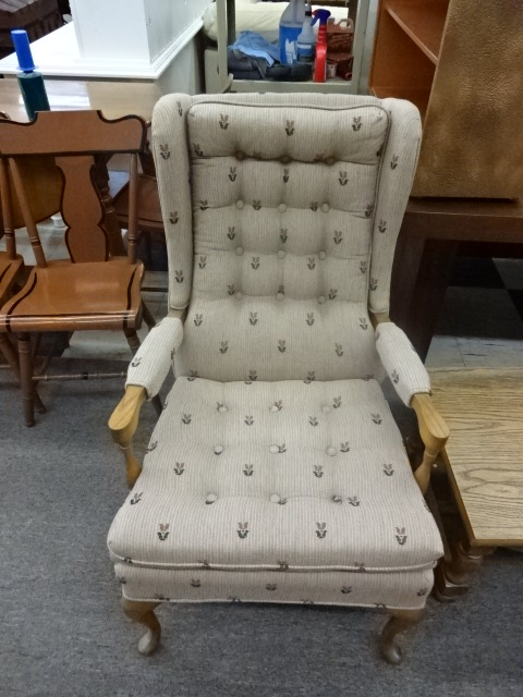 Soft Gray Pinstripe Upholstered Accent Chair w/ Button Detail