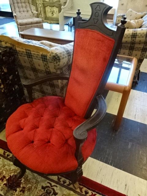 Red Velvet Antique Bordello Accent Chair
