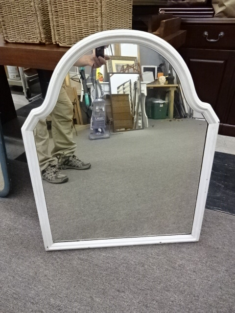 White-Framed Mirror with Arched Top, 26