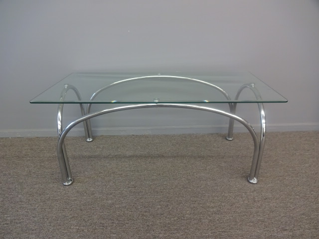 MCM GLASS TOP COFFEE TABLE