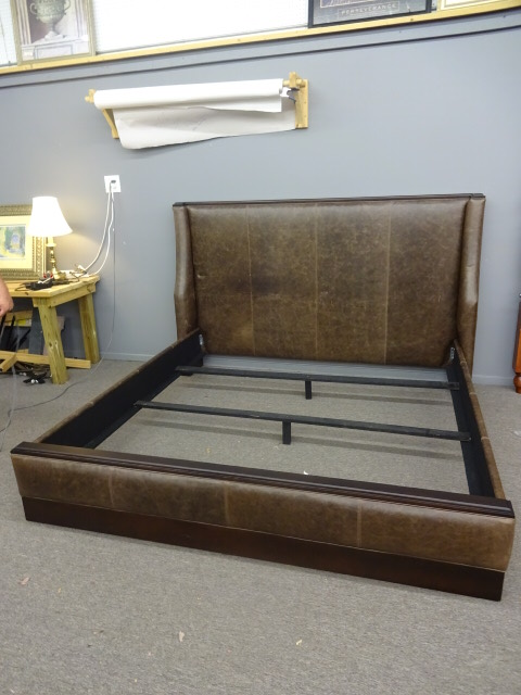 Leather Studded King Size Bed