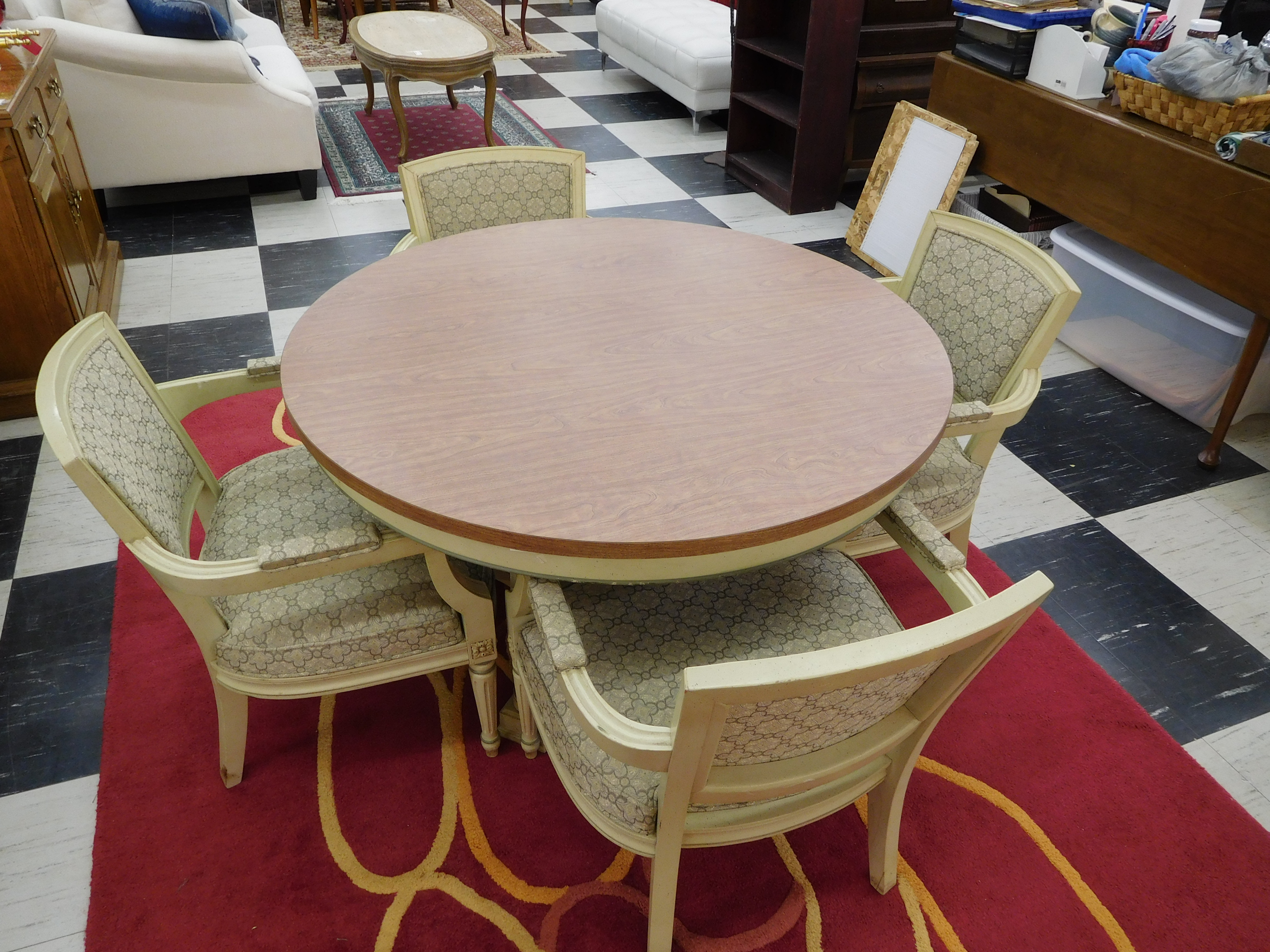 Mid Century Dining Room Table with 4 Upholstered Chairs