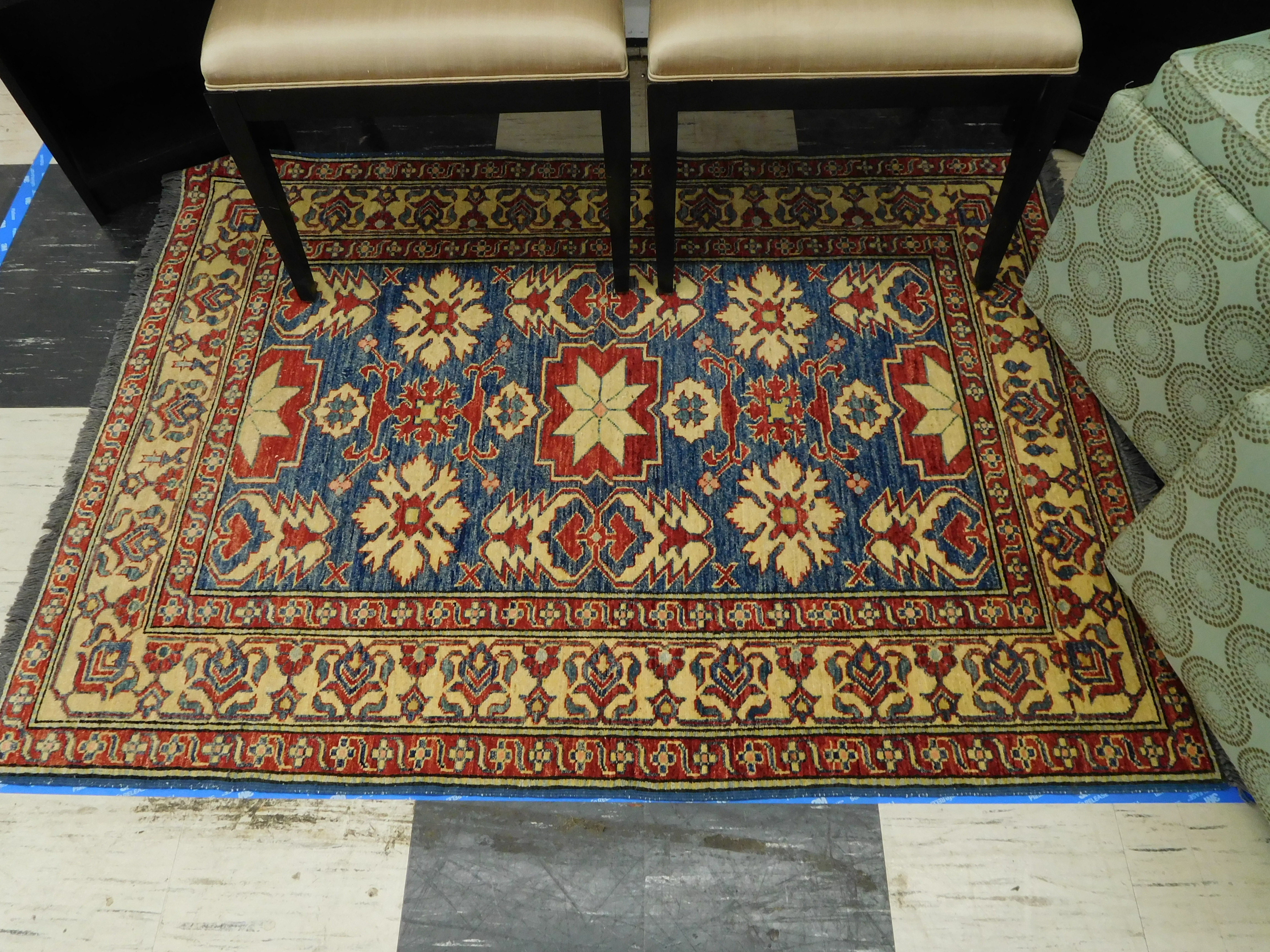 Hand Knotted Persian Rug - Blue & Red 49