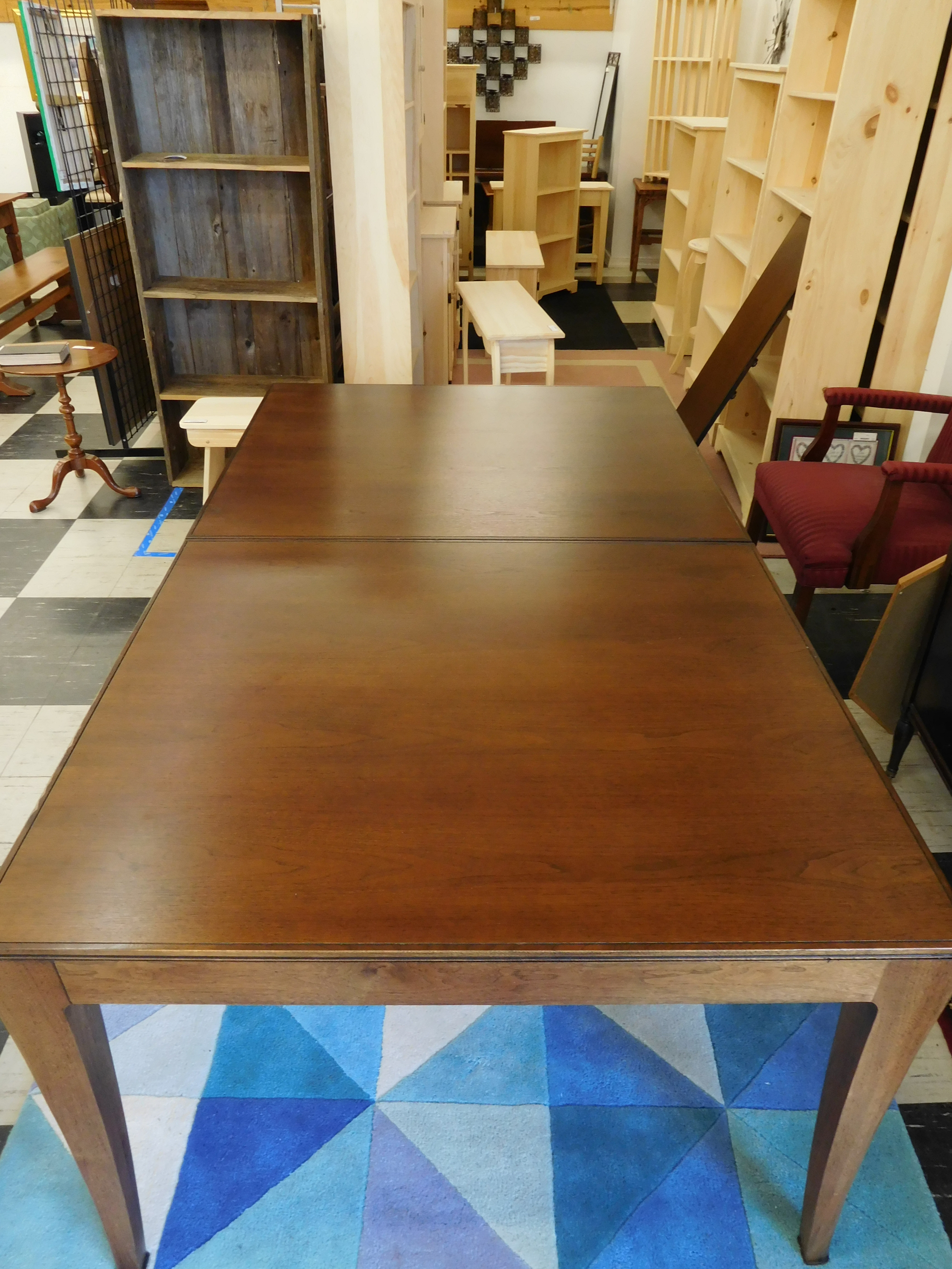 Solid Walnut Dining Table By Baker Furniture (1 Leaf)