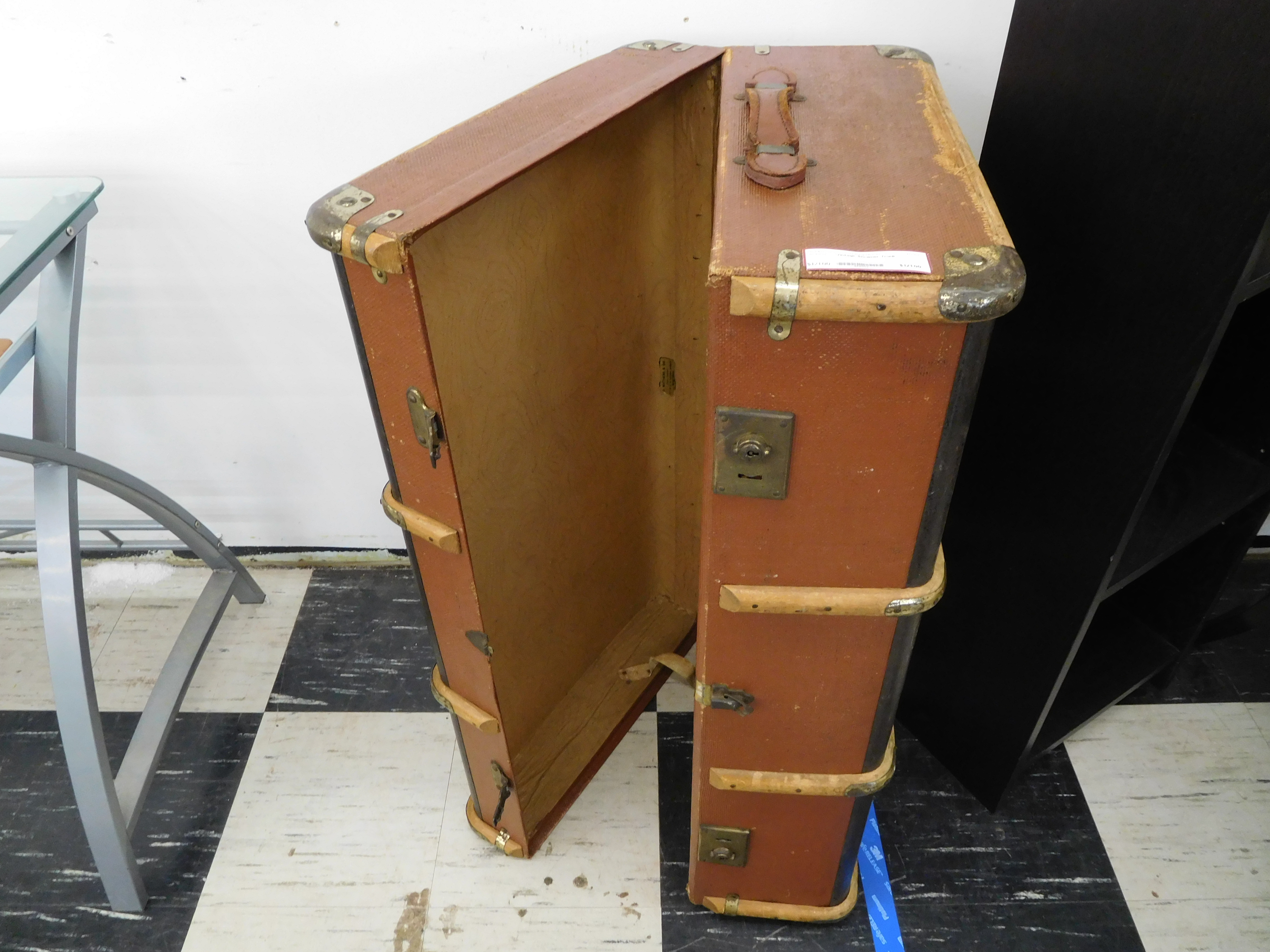 Vintage Steamer Trunk with Wood Bracing and Leather Handle