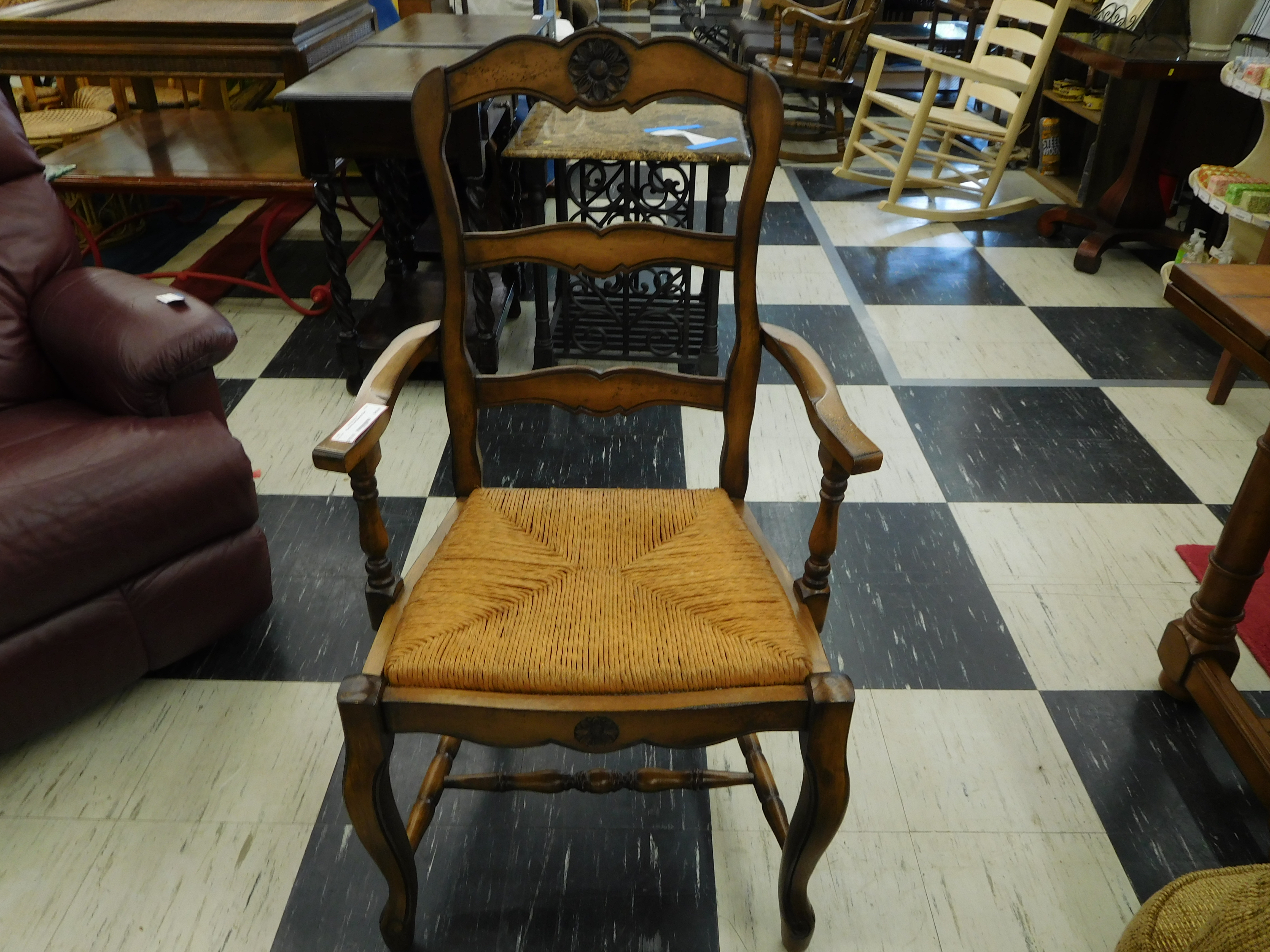 French Provincial Wood Dining Chair with Beautiful Rush Seat