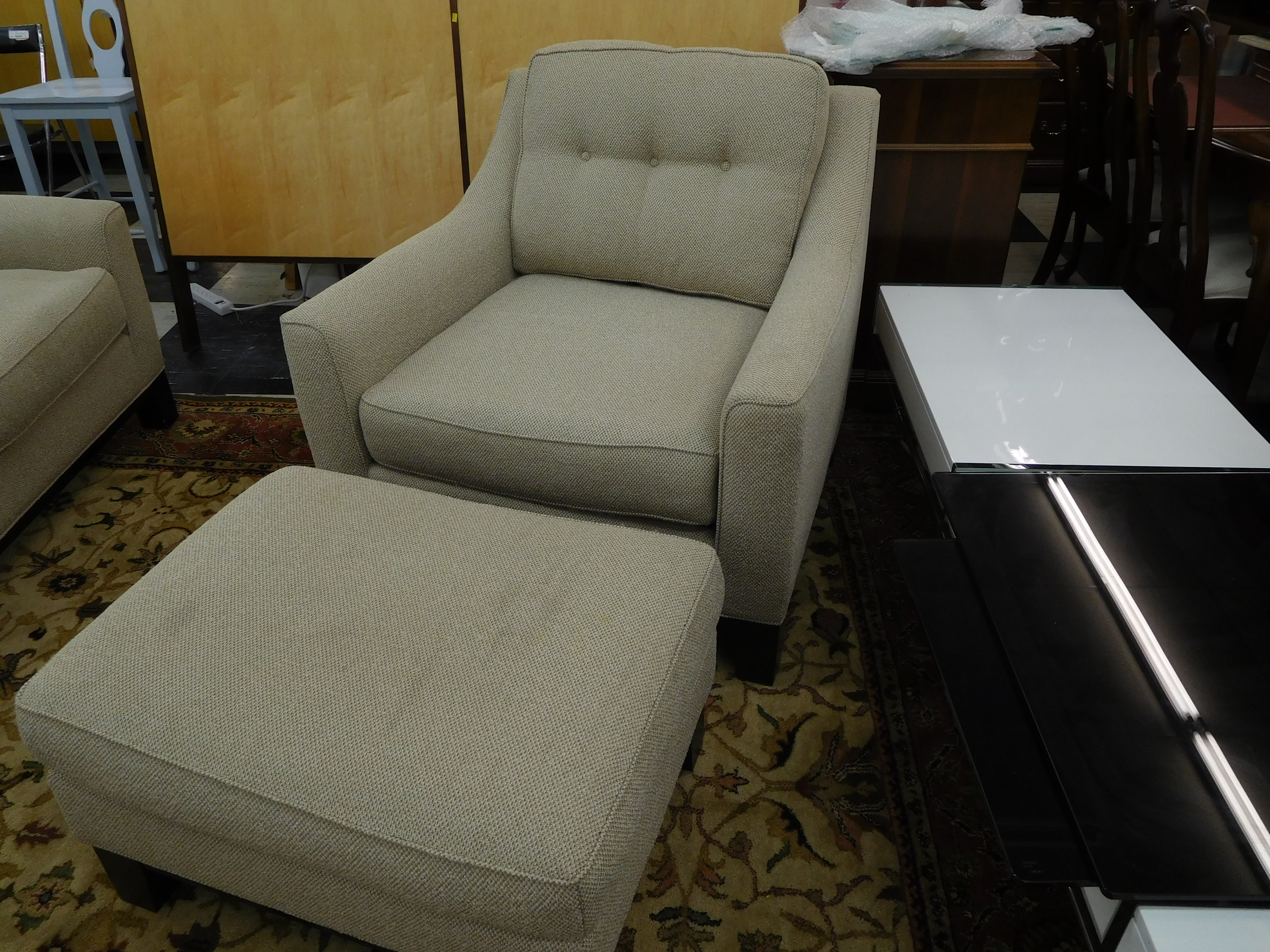 Cream Upholstered Lounge Chair With Ottoman