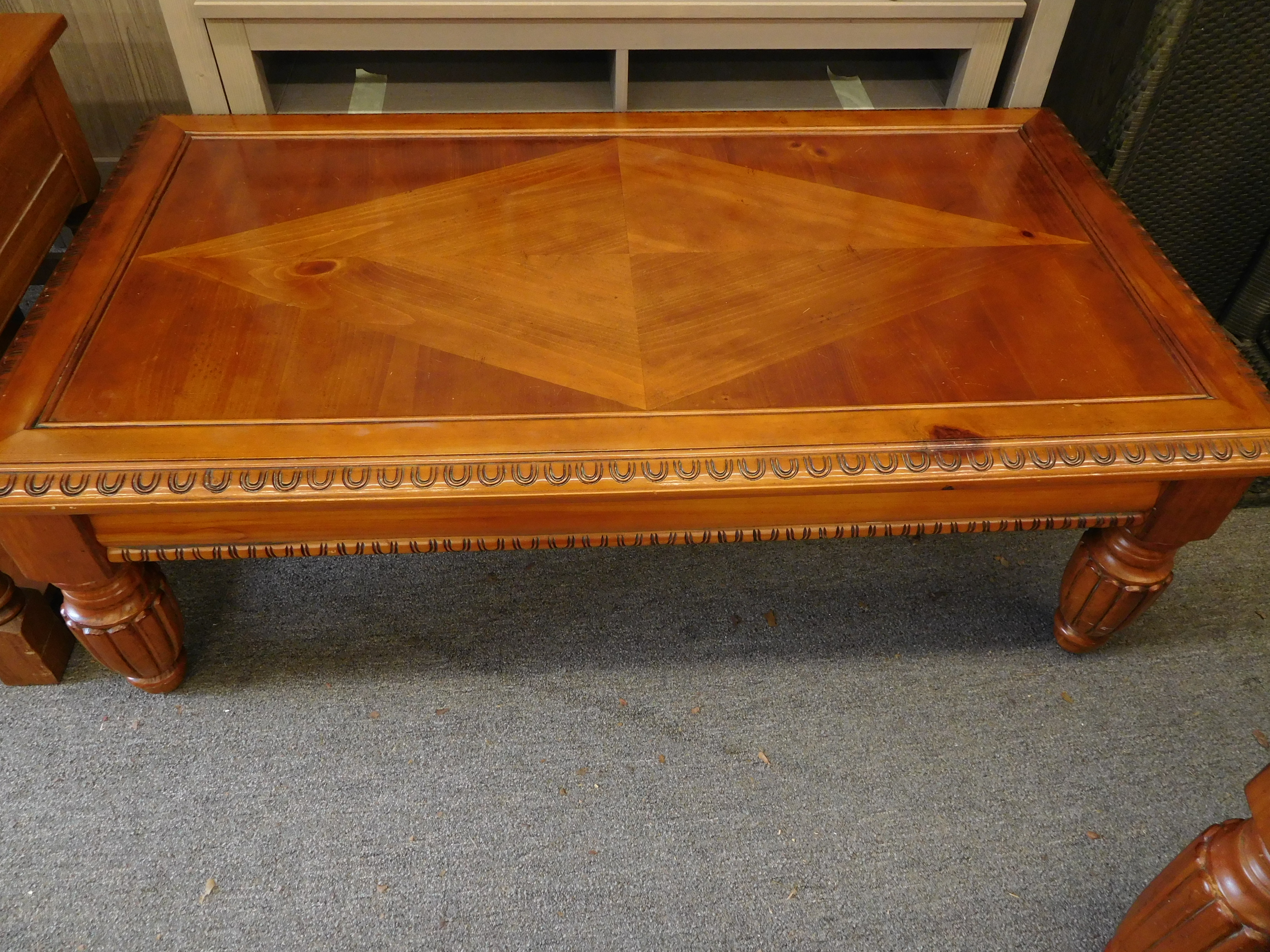 Coffee Table with Inlaid Wood Diamond and Carved Edges