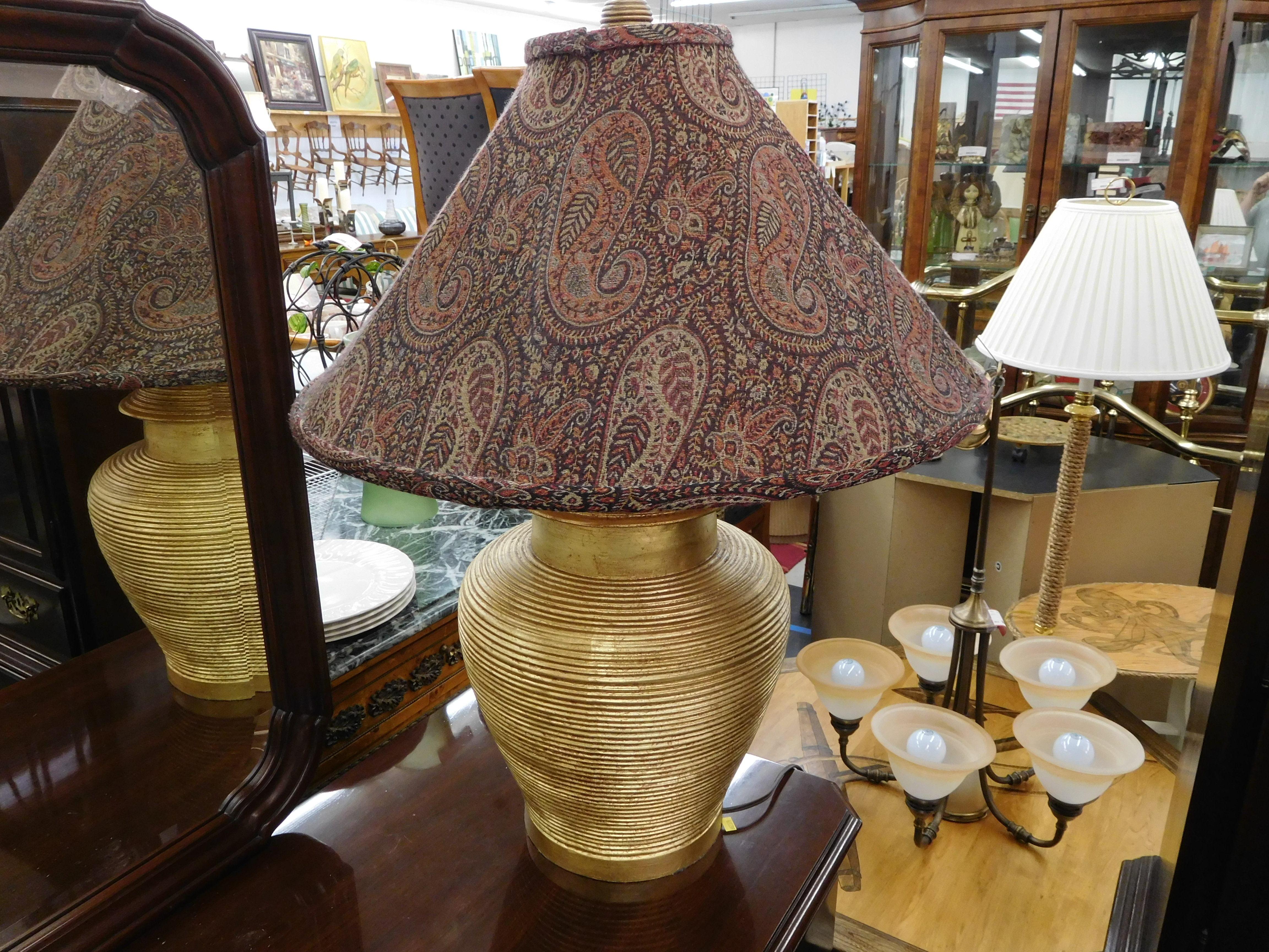 Ridged Gold Base Table Lamp with Paisley Shade by Ethan Allen