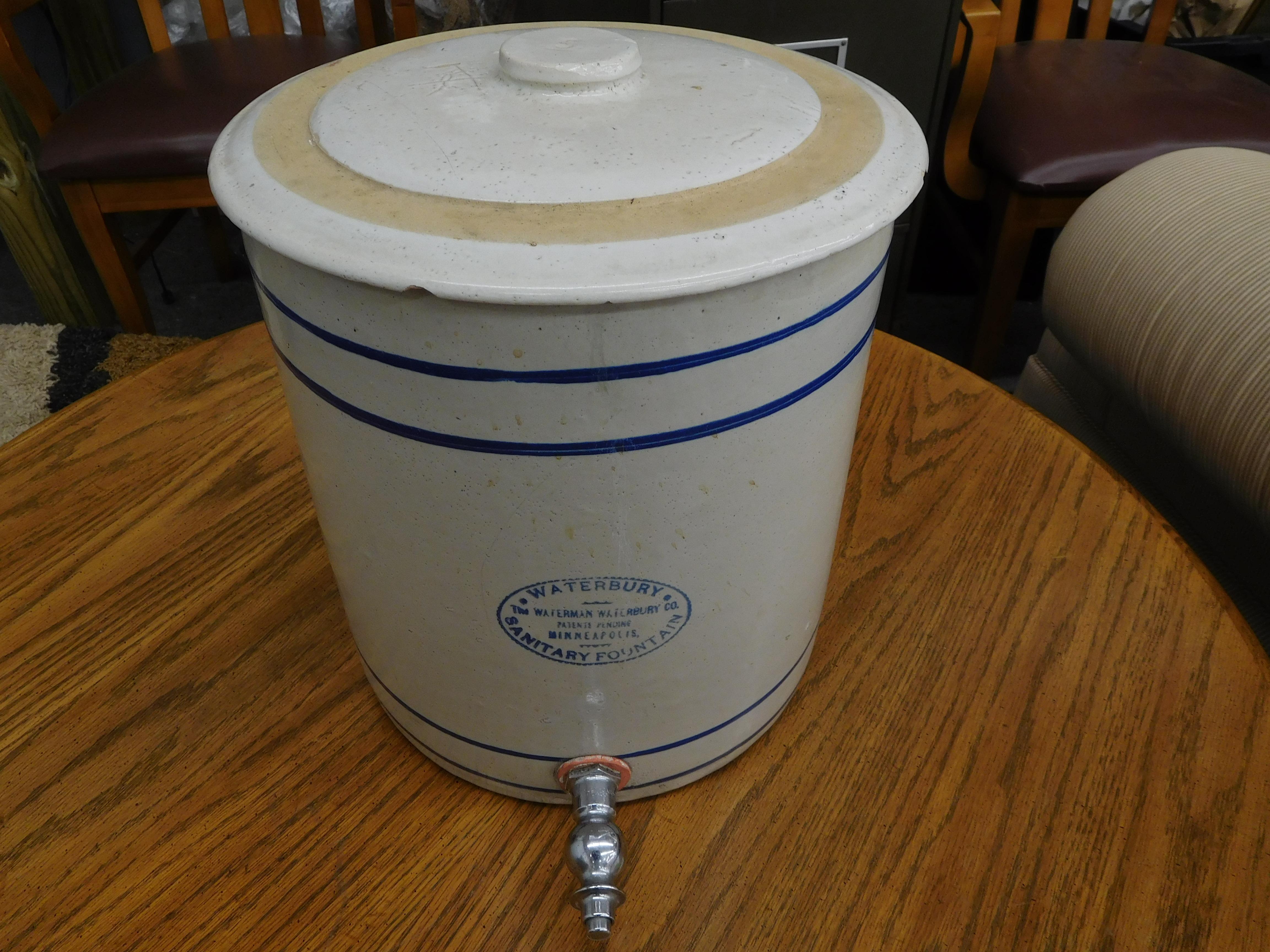 Vintage Waterbury Ceramic Beverage Jug with Spigot