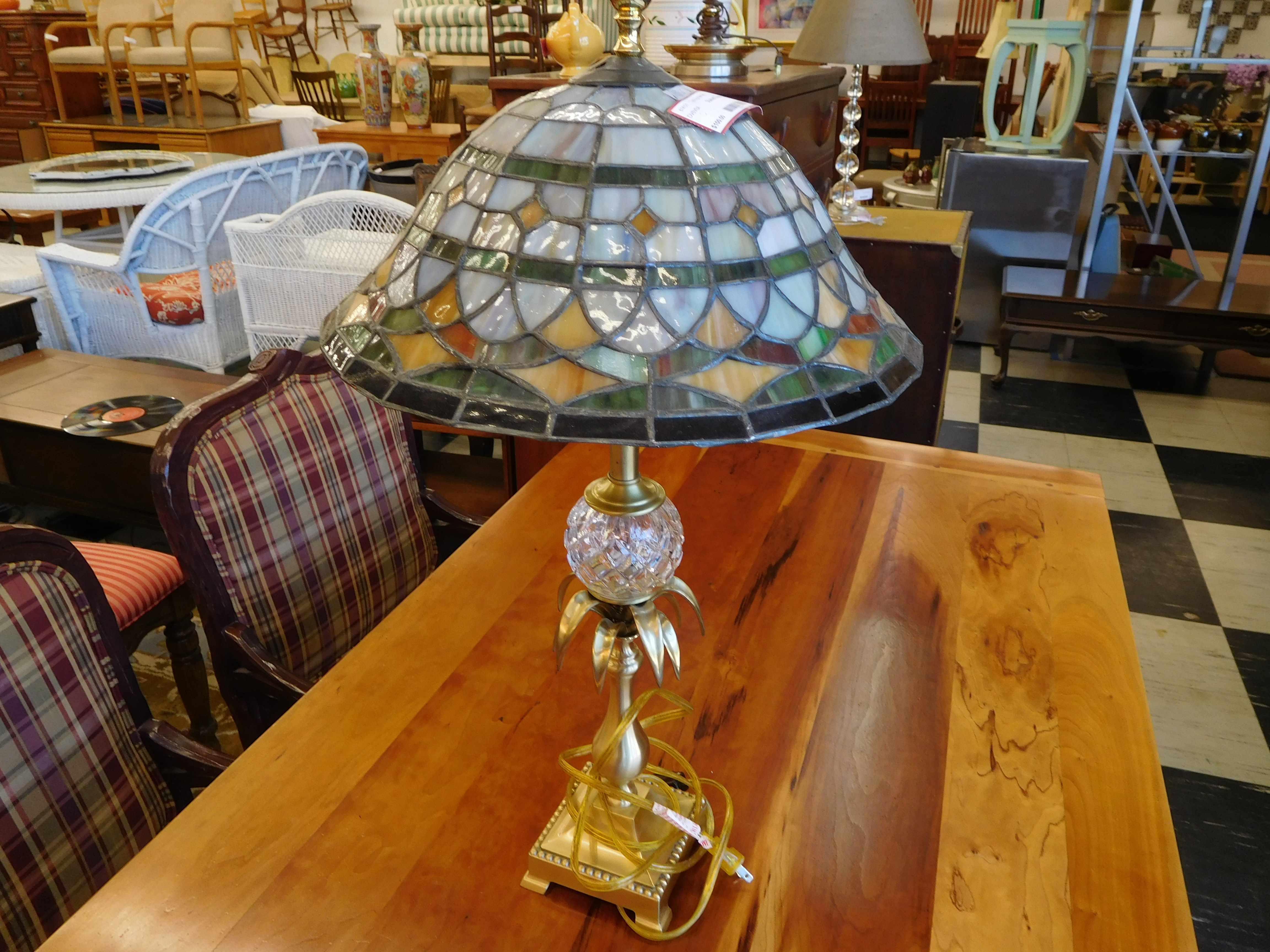 Nice Stained Glass Table Lamp - Green, Yellow and Orange Design