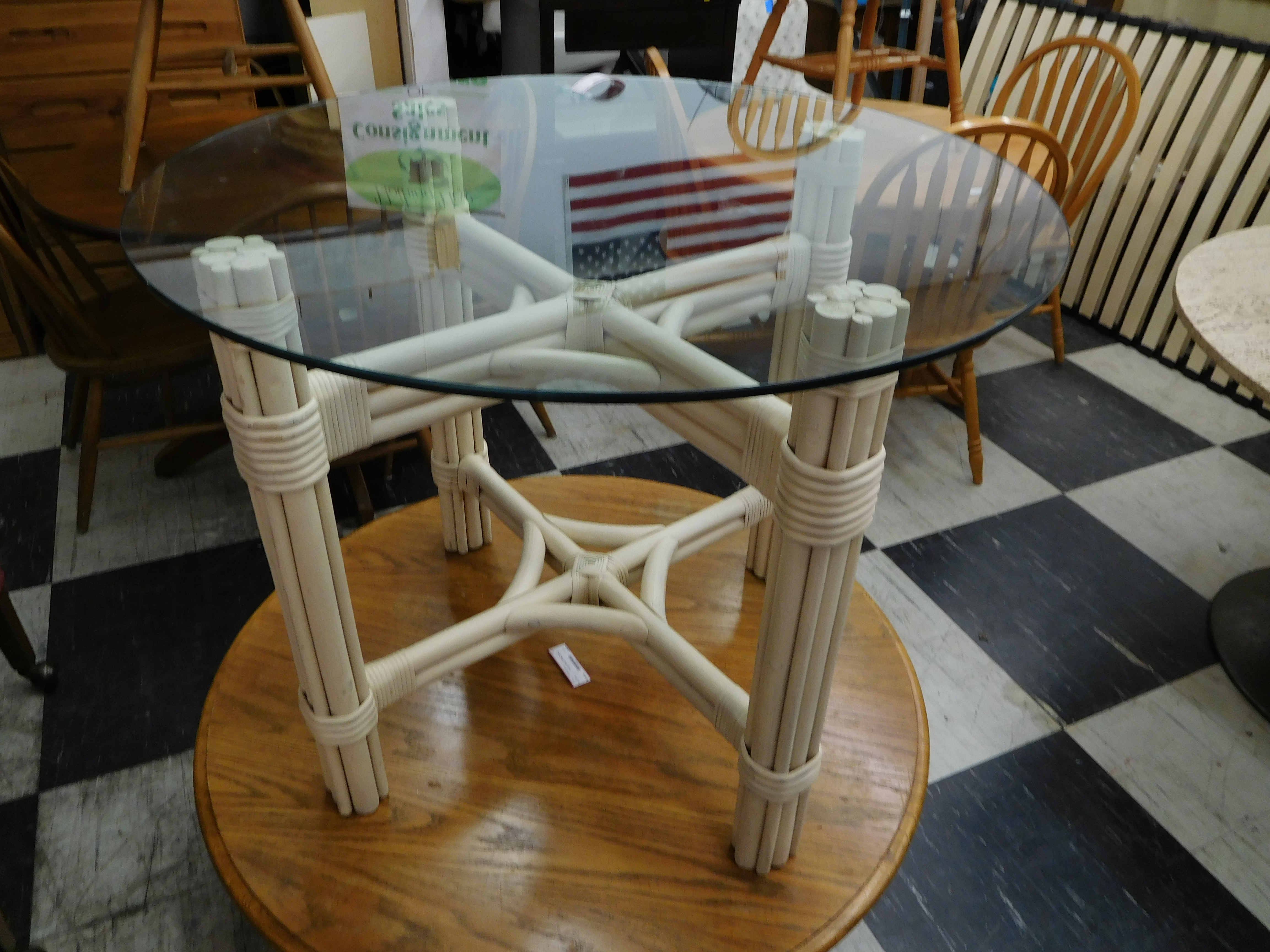 White Painted Rattan Table with Glass Top