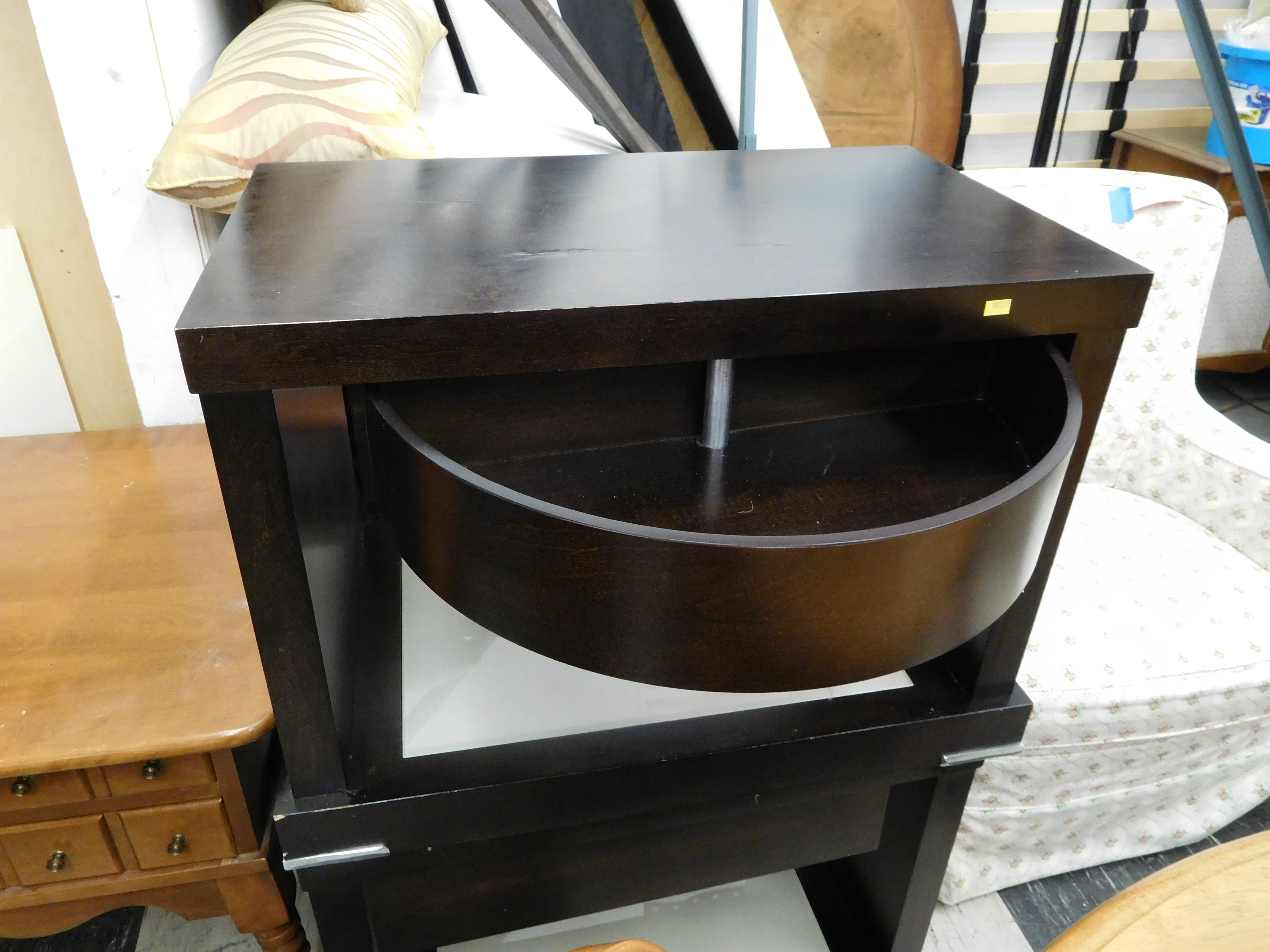Pair of Black Modern Swivel Drawer End Tables