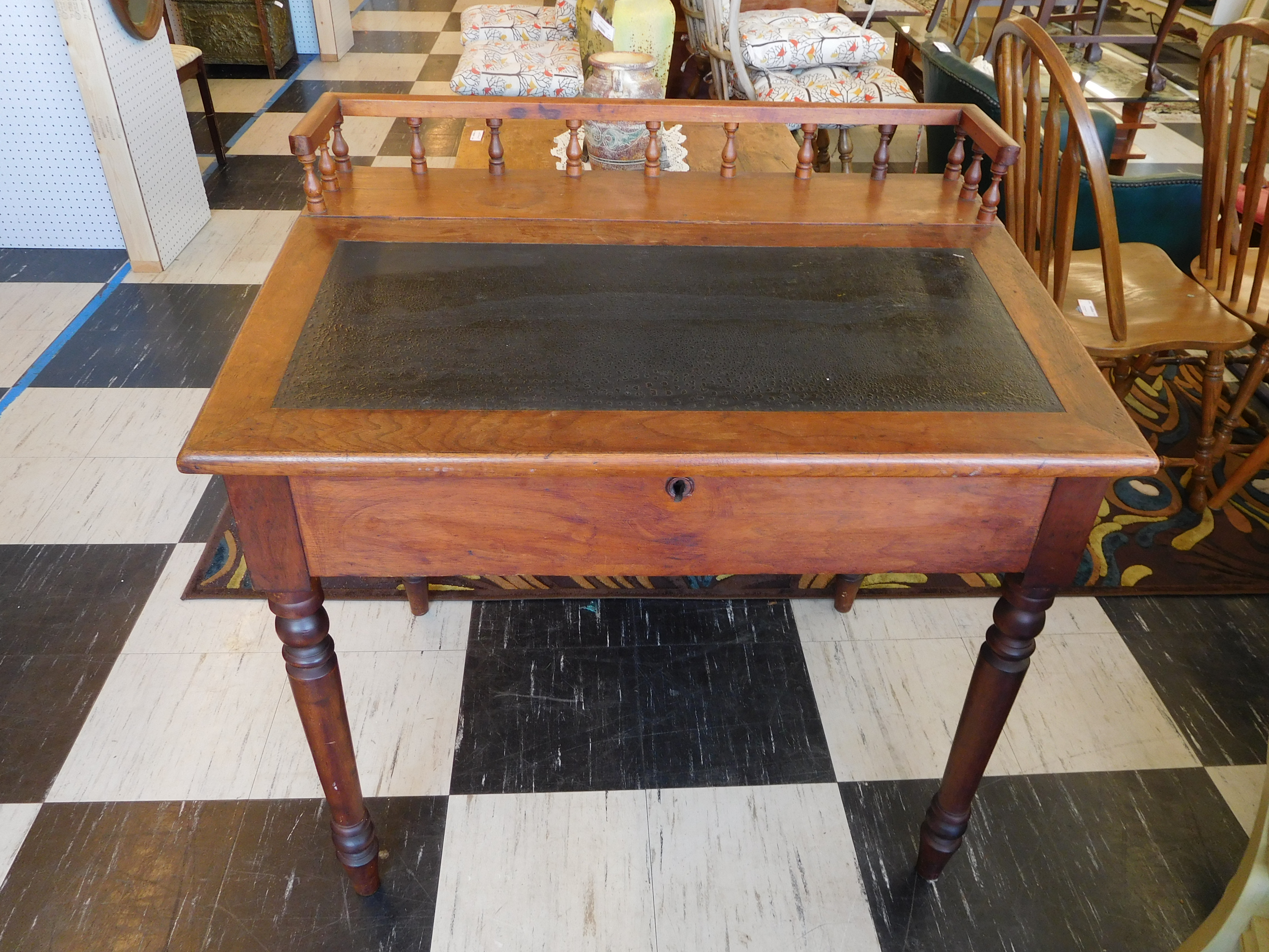 Antique Cherry Hinged Top Desk with Inside Storage