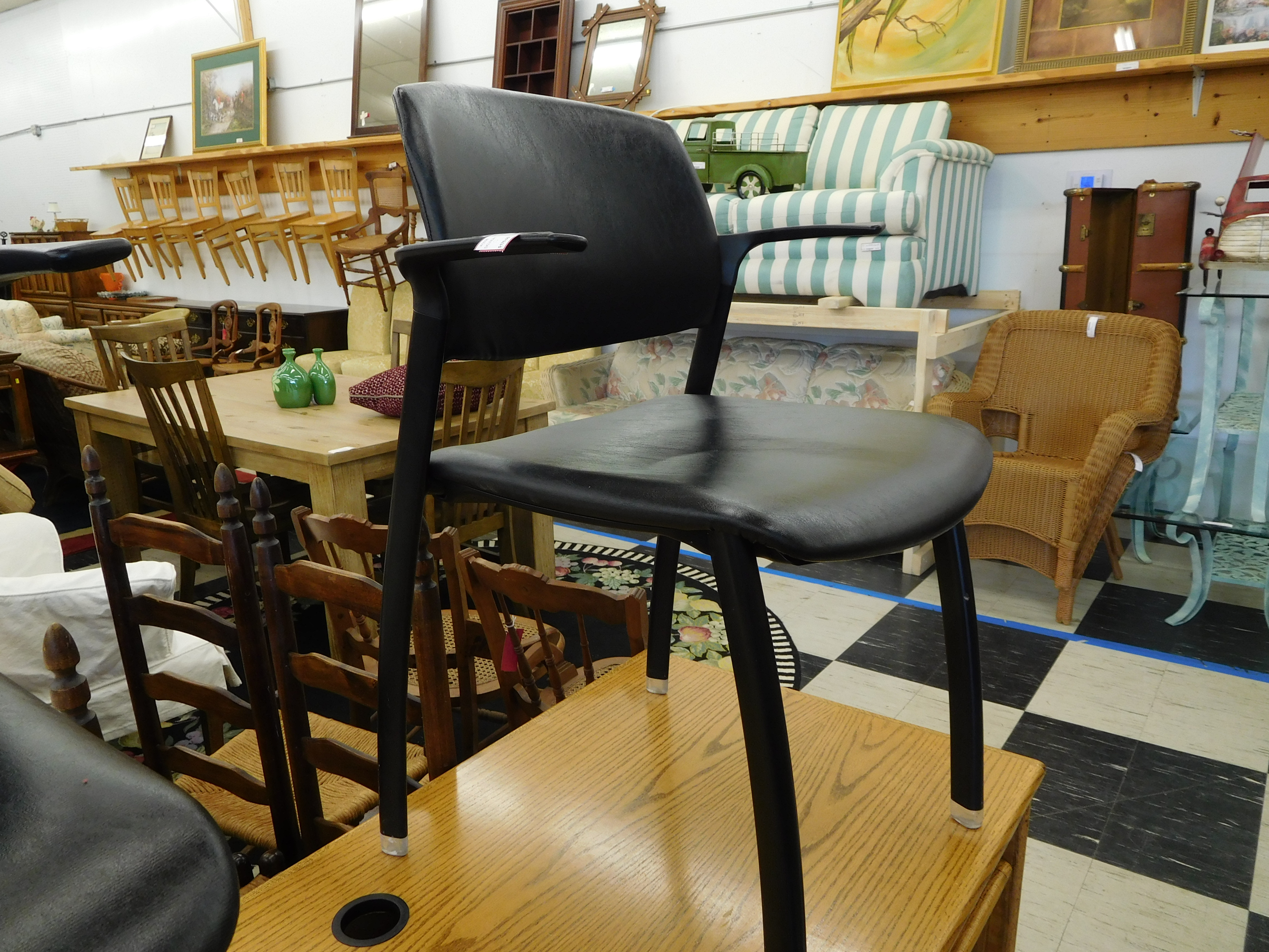Black Leather  Hon F3 Stackable Chair