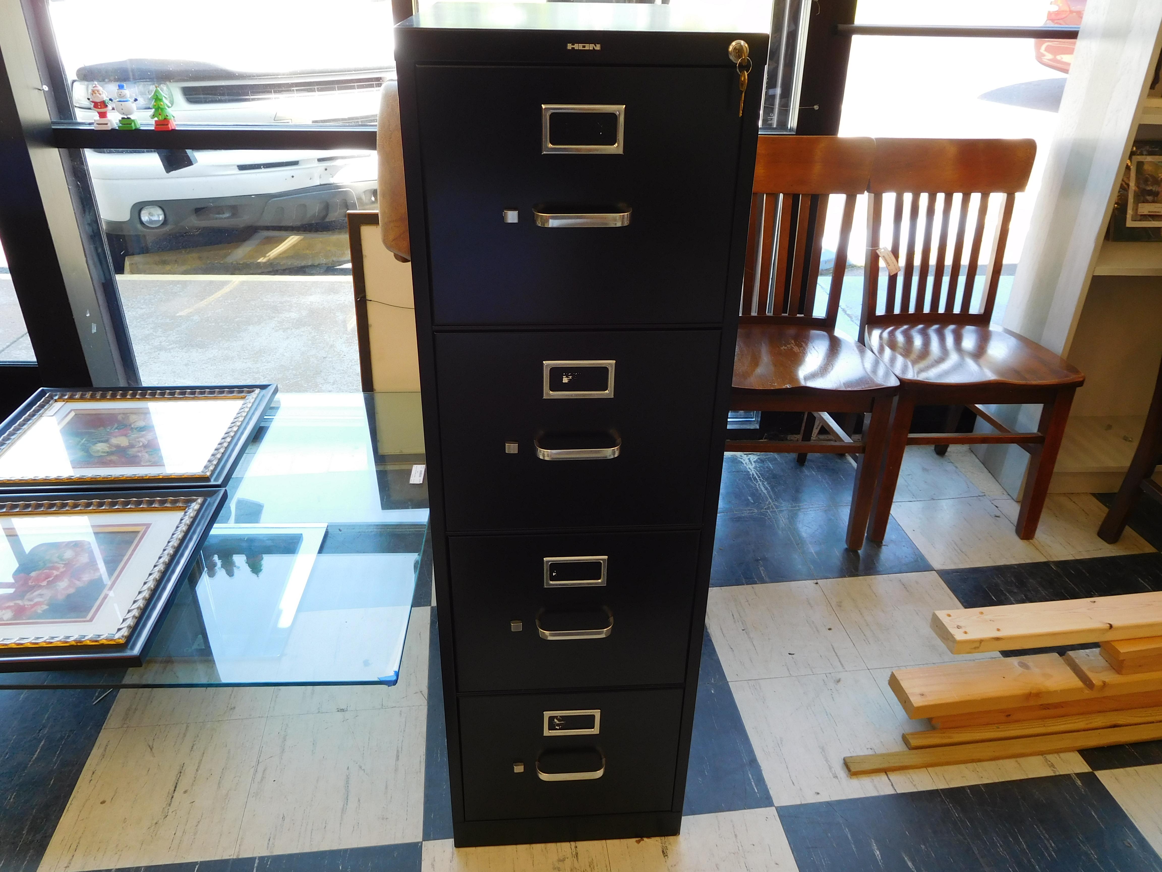 Black Hon 4-Drawer Filing Cabinet (Has Keys)