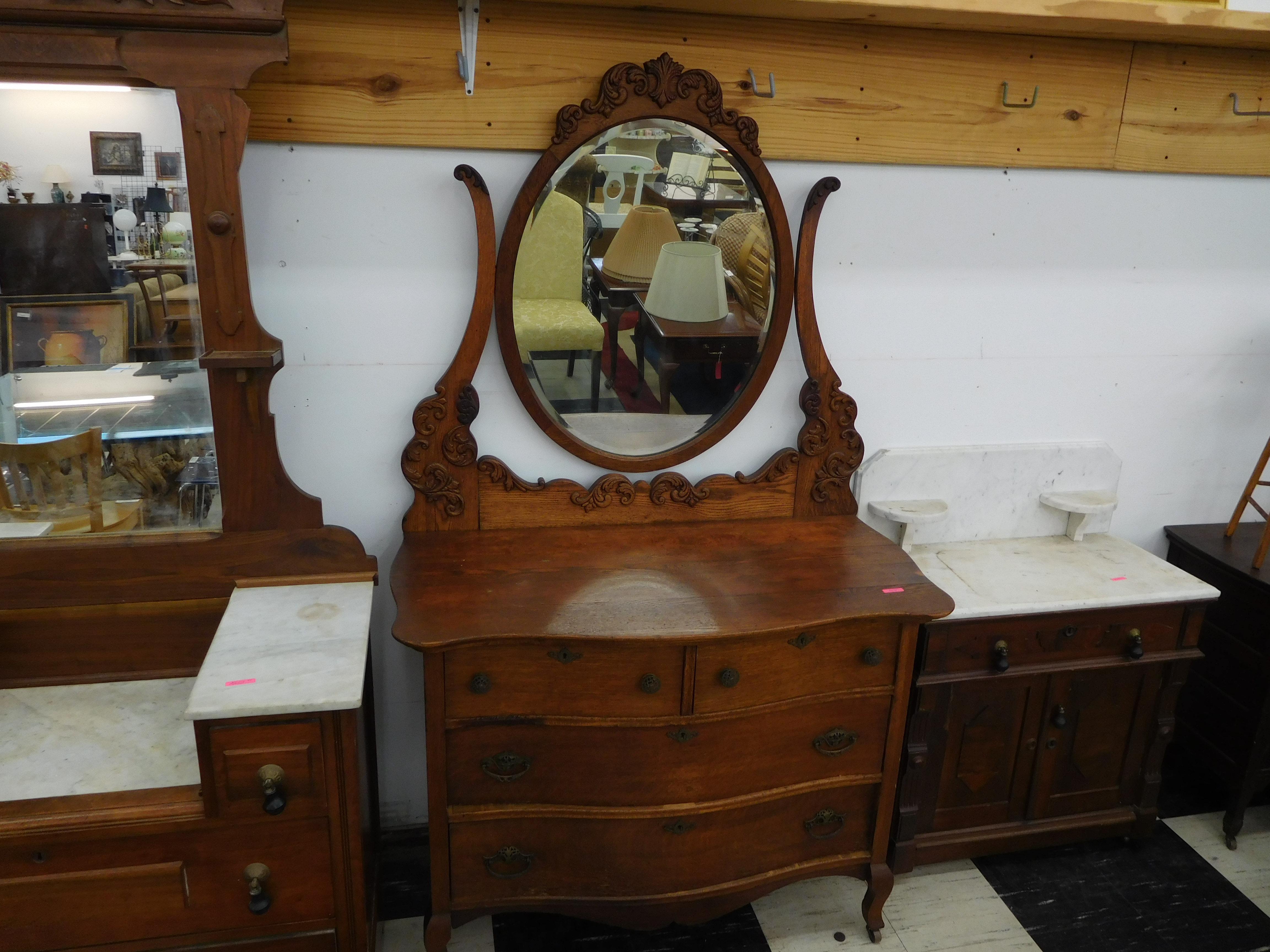 Beautifully Carved Antique Washstand with Mirror