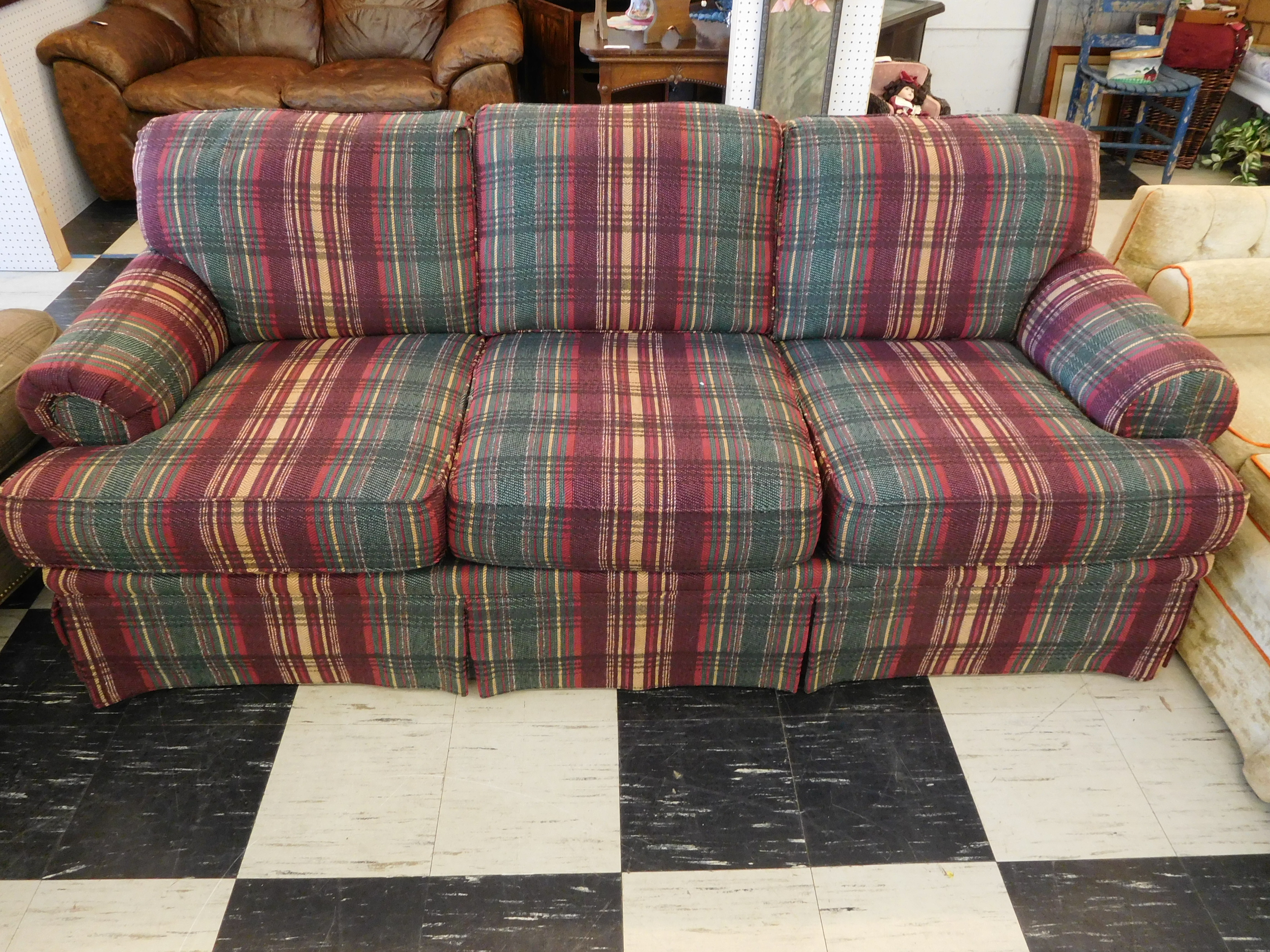 Blue and Plum Plaid Sofa by Drexel Heritage