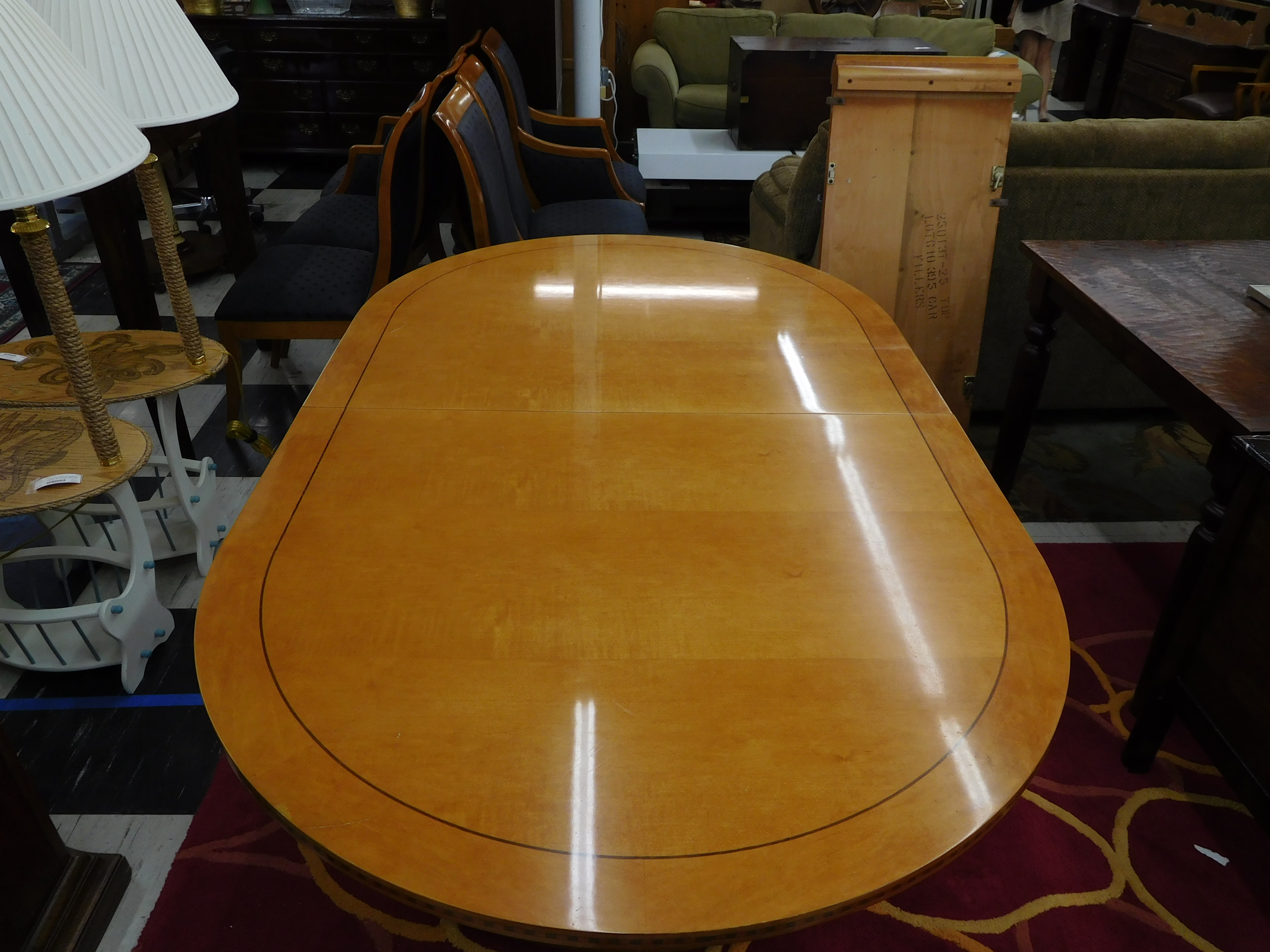 Solid Maple Dining Table w/ Walnut Inlay (+ 2 Leaves) by Hickory White