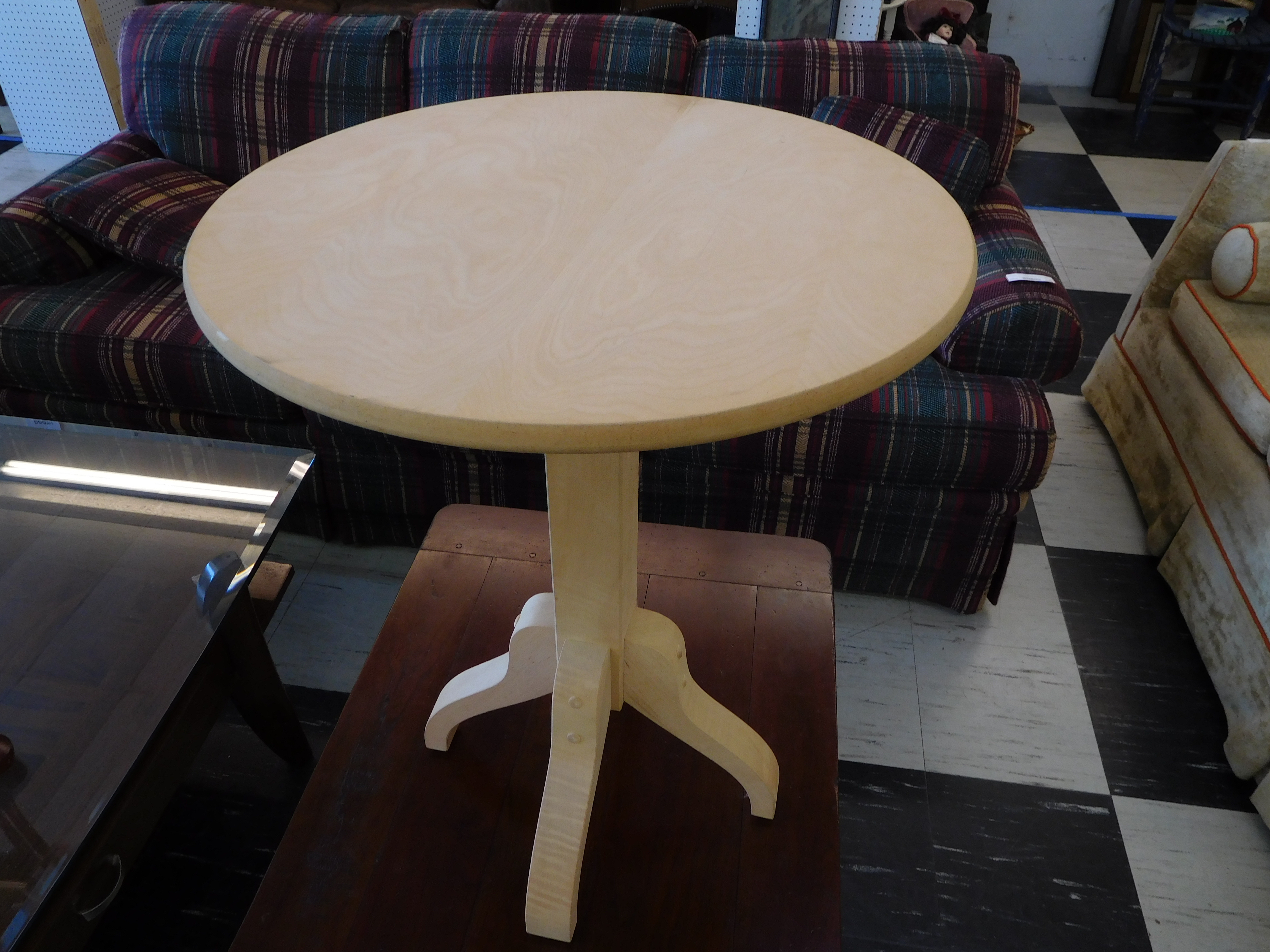 Modern Ash Pedestal Accent Table