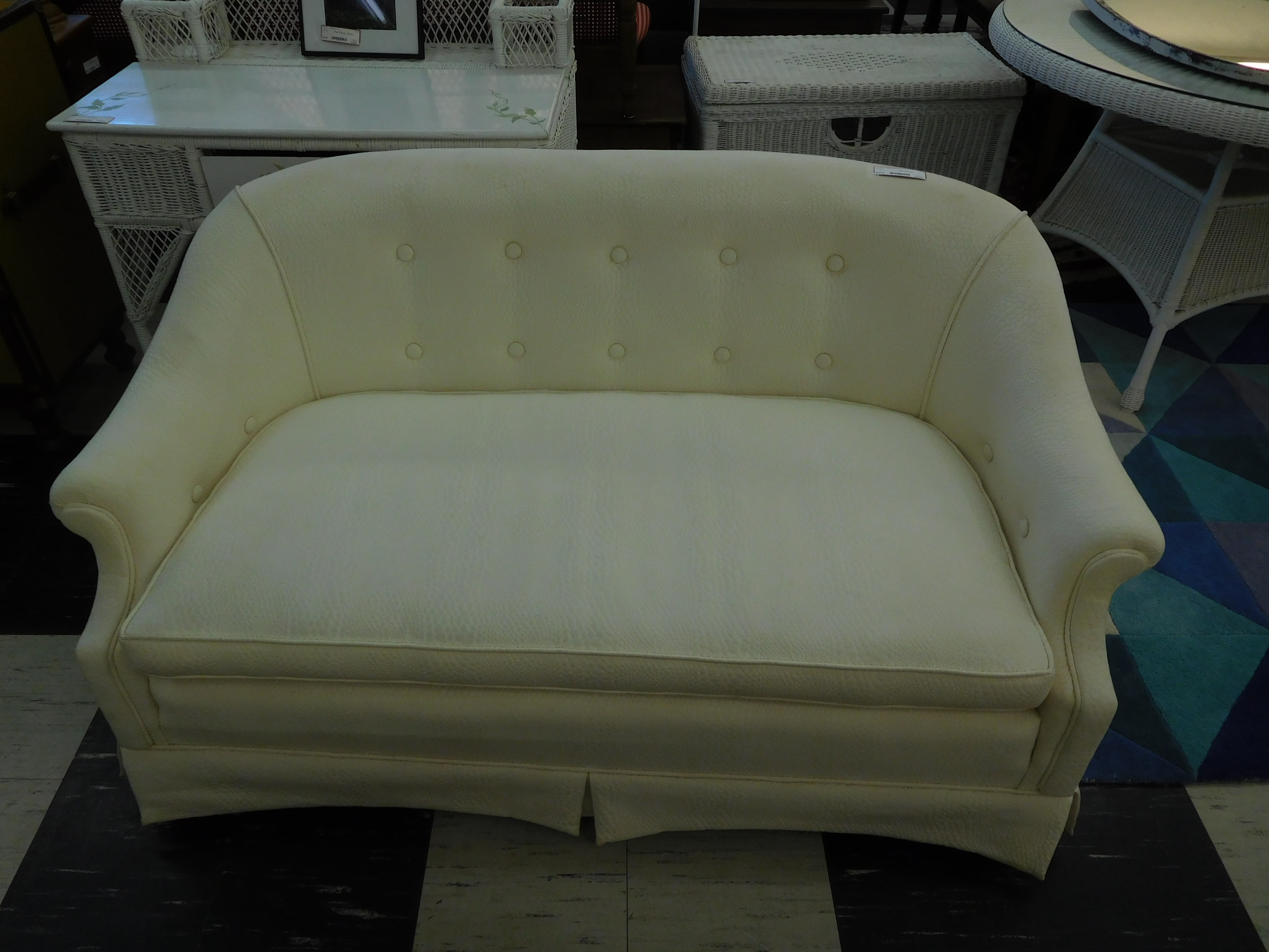 Modern White Tufted Loveseat with Pleat in Front