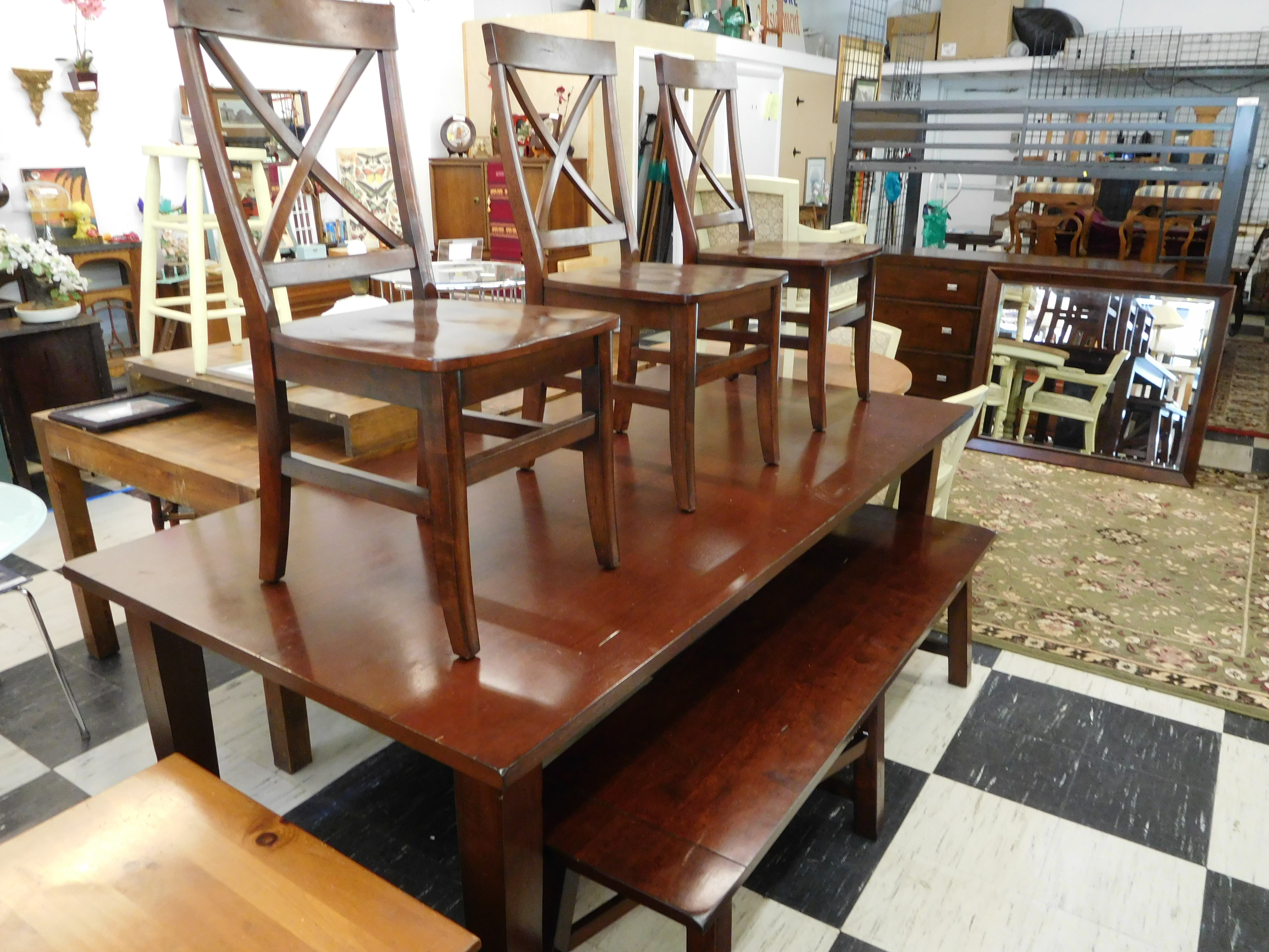 Farm Table with Bench and 3 Chairs
