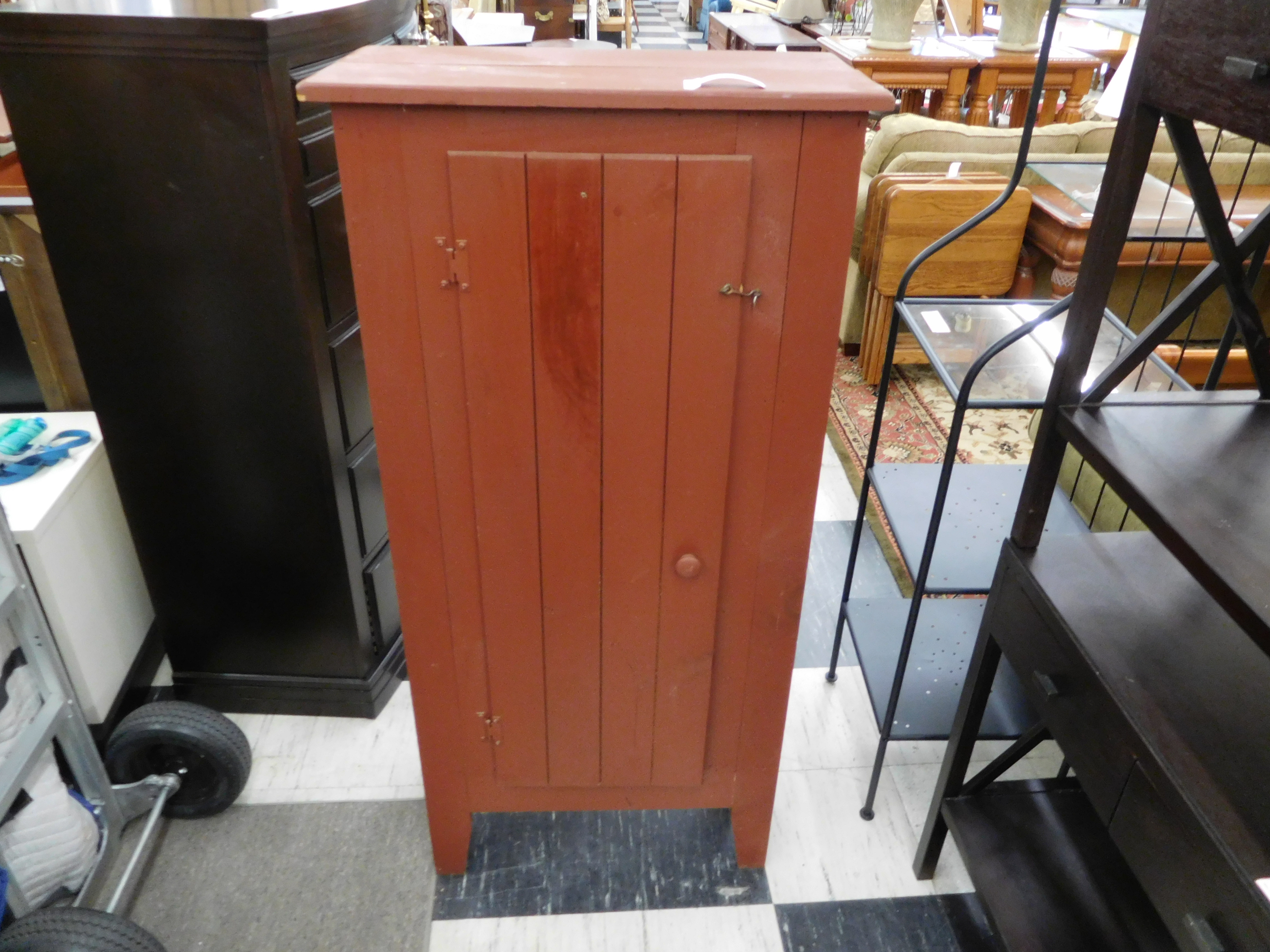 Rustic Wood Storage Cabinet with Door Latch and Inside Shelves