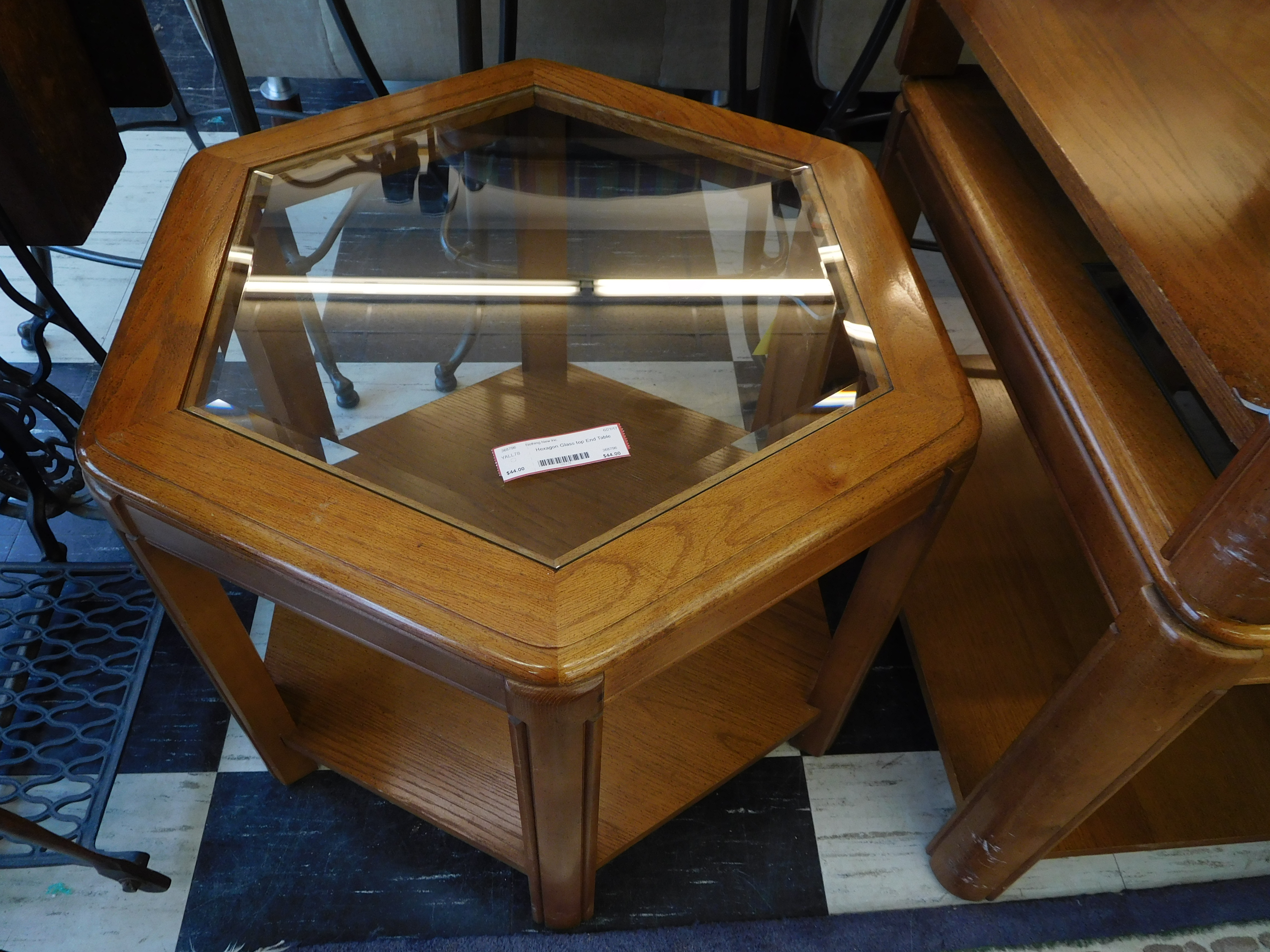 Hexagonal Glass Top End Table with Lower Shelf