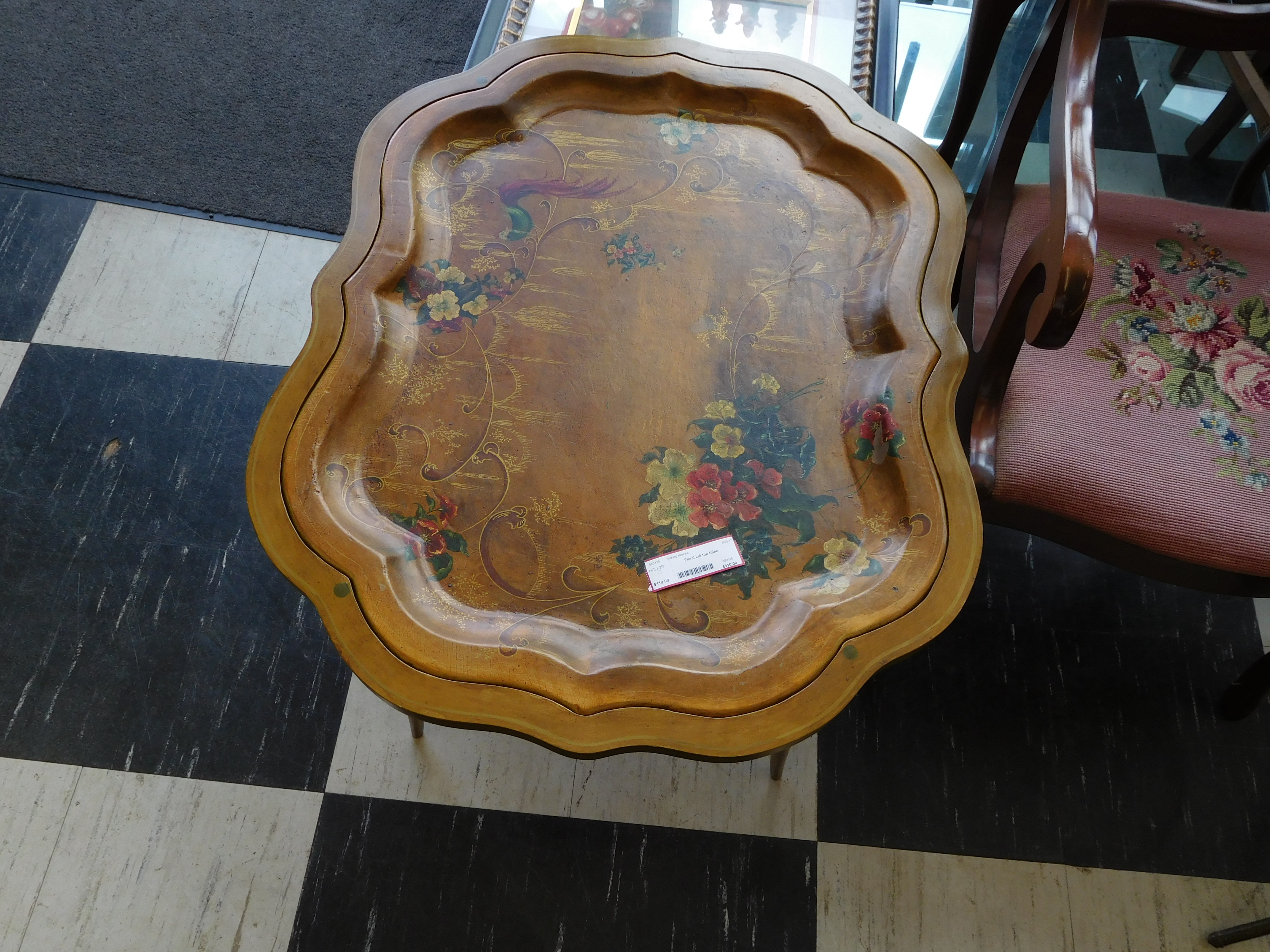 Floral Painted Lift Top Tray Table