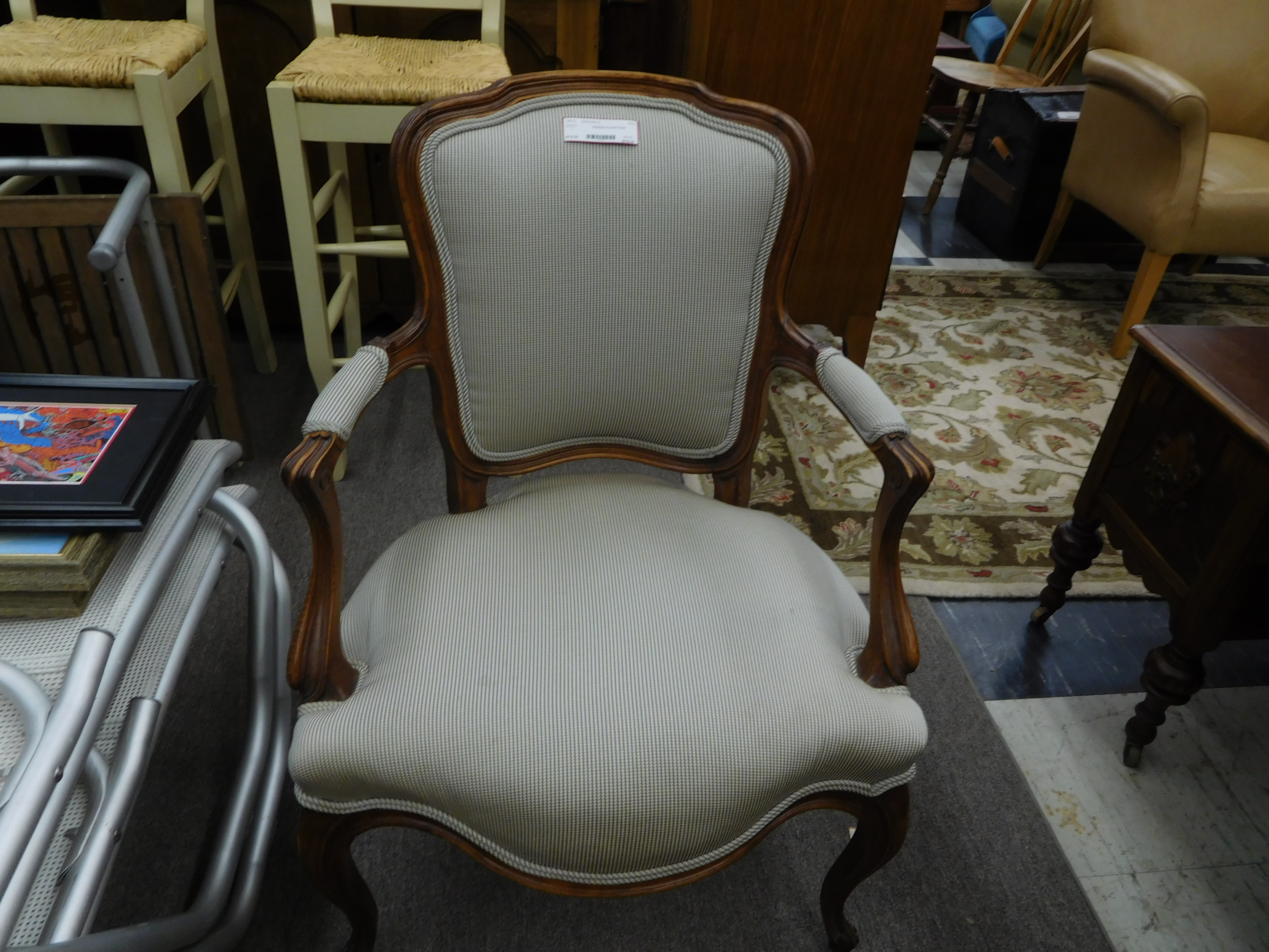Victorian Style Neutral Upholstered Accent Chair