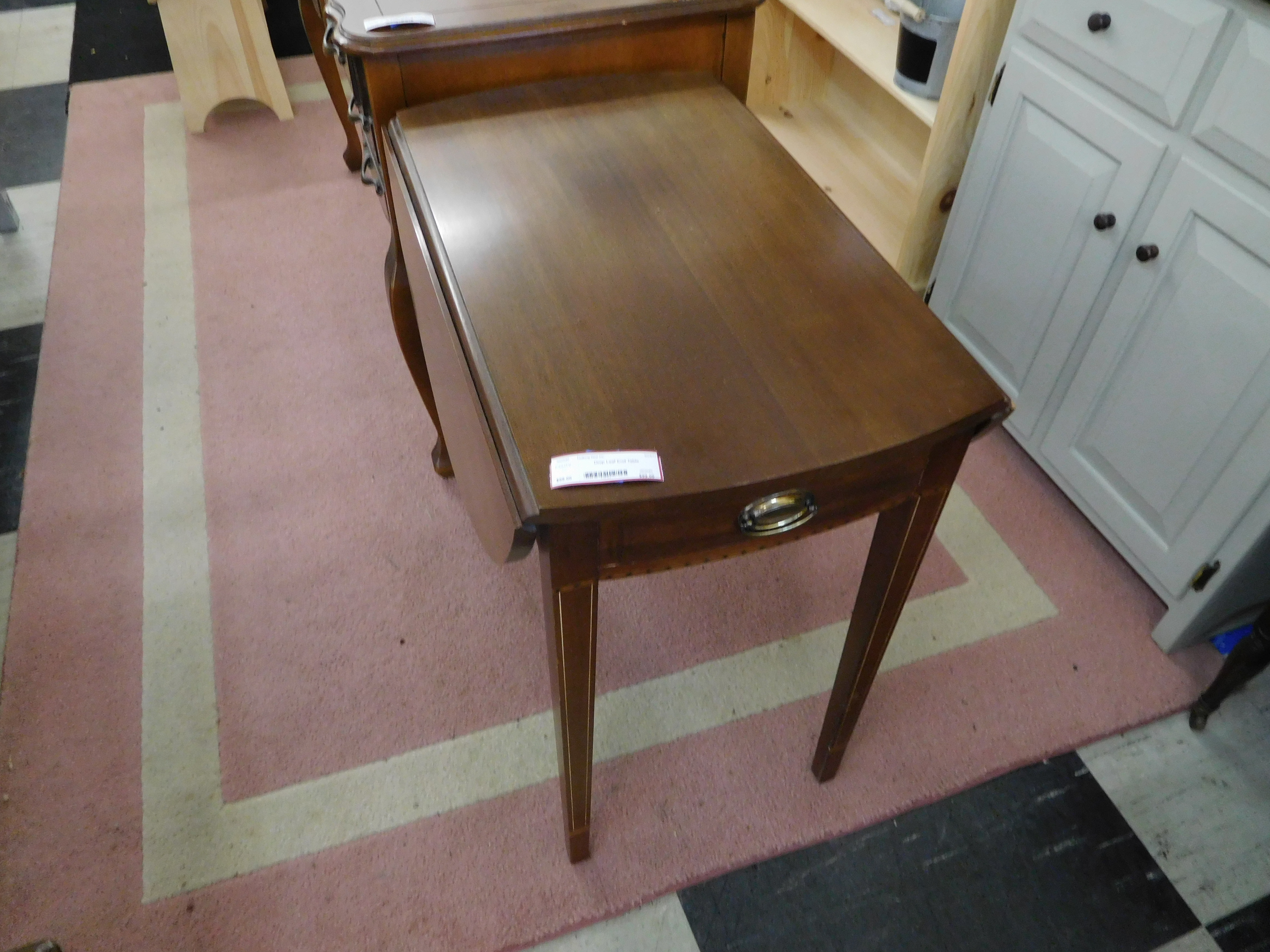 Dark Finish Drop Leaf End Table with Drawer
