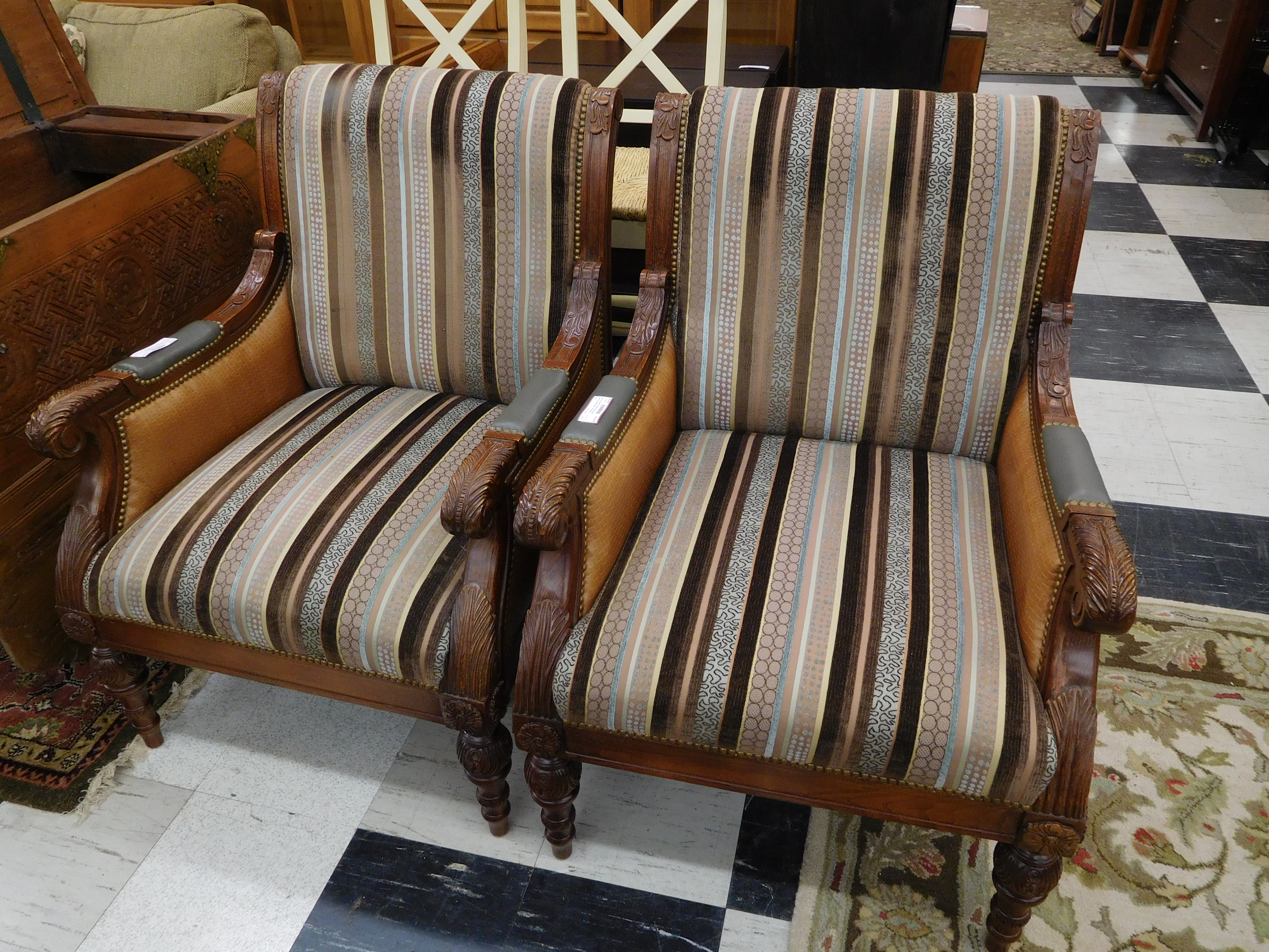 Vintage Carved Oak Accent Chair w/ Distinctive Upholstery and Studded Leather Sides
