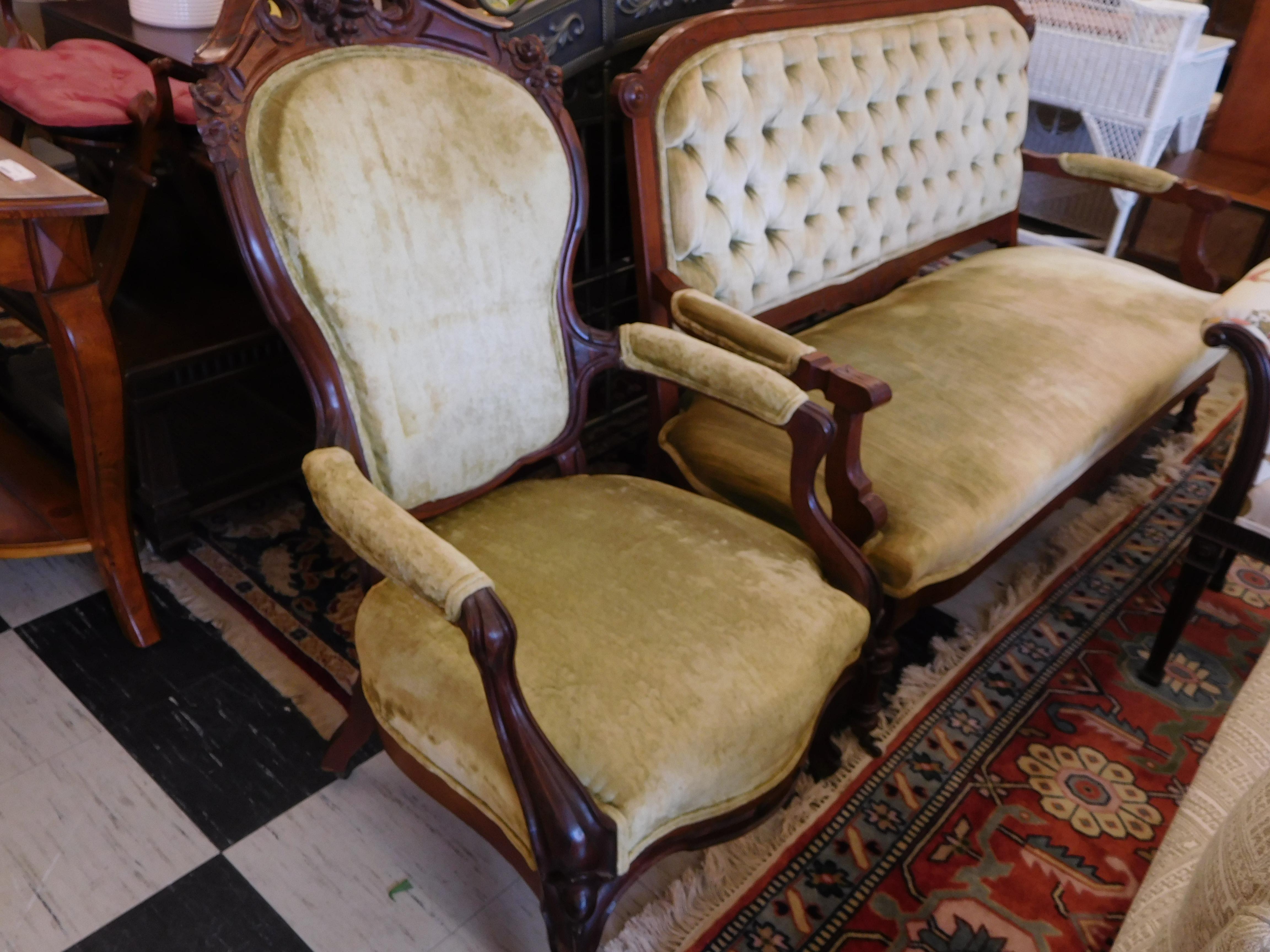 Vintage Victorian Velvet Chair