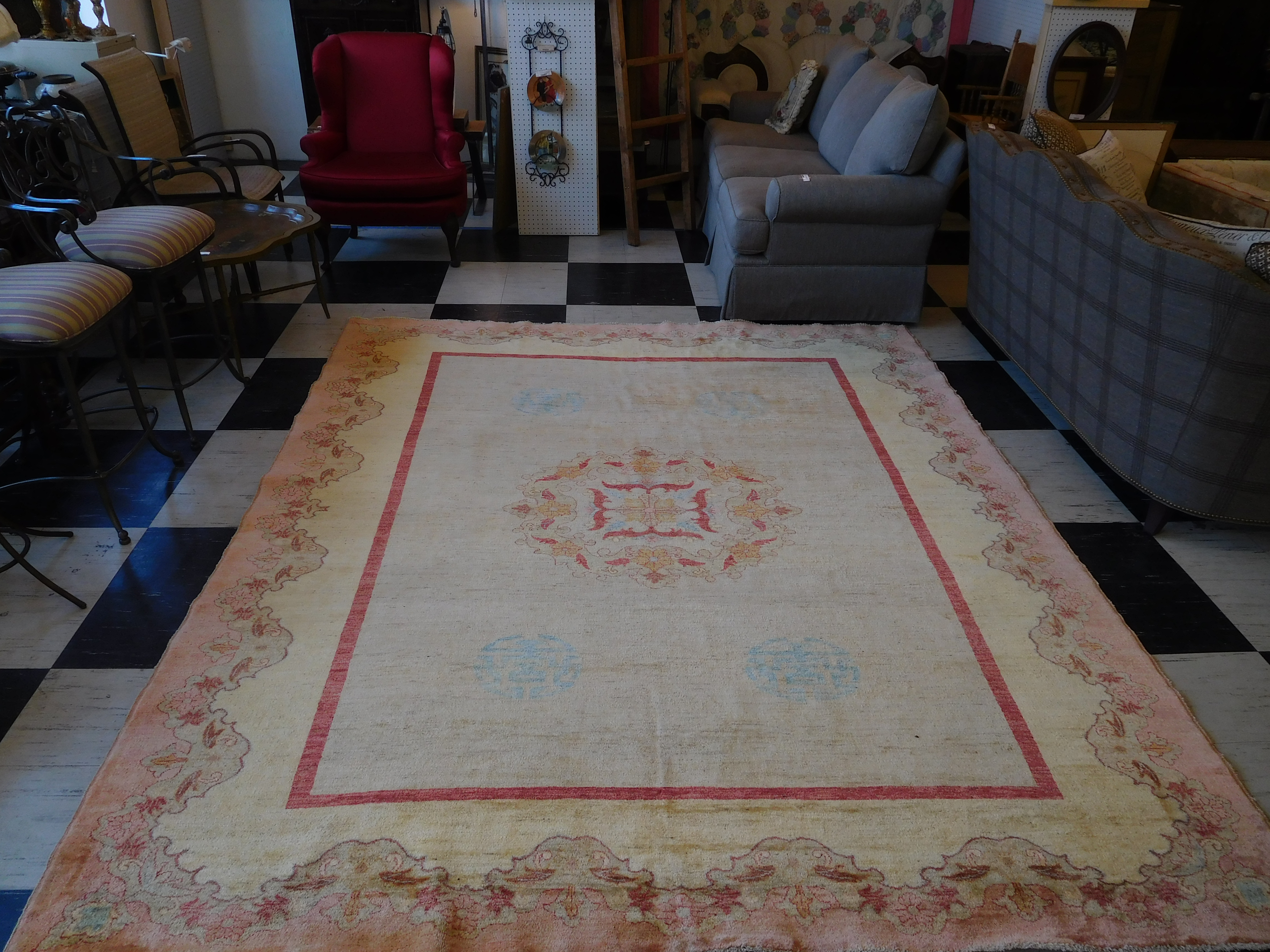 8' x 10' Vintage Hand Knotted Oushak Rug