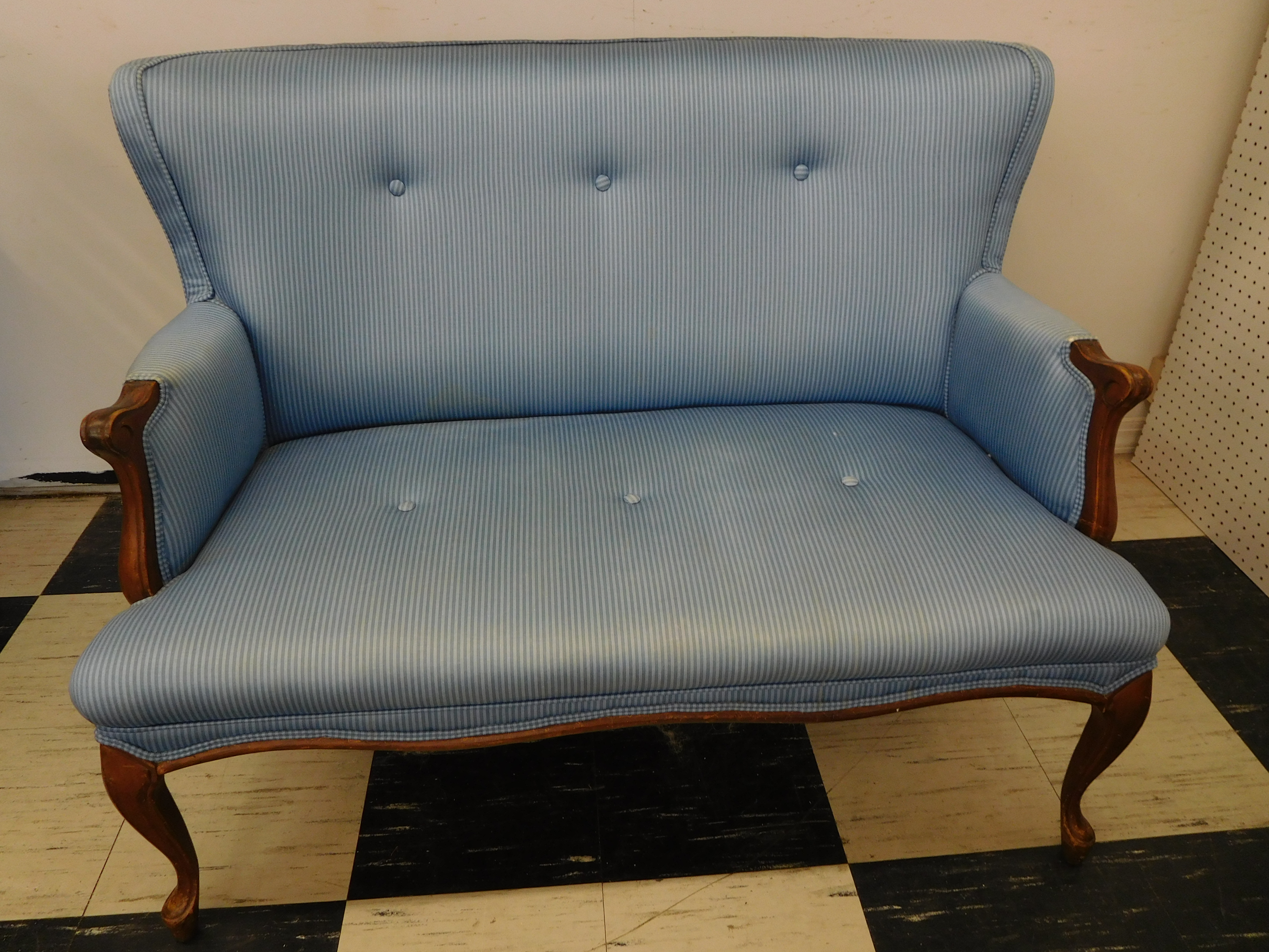 Blue Pinstripe Upholstered Wing Back Loveseat