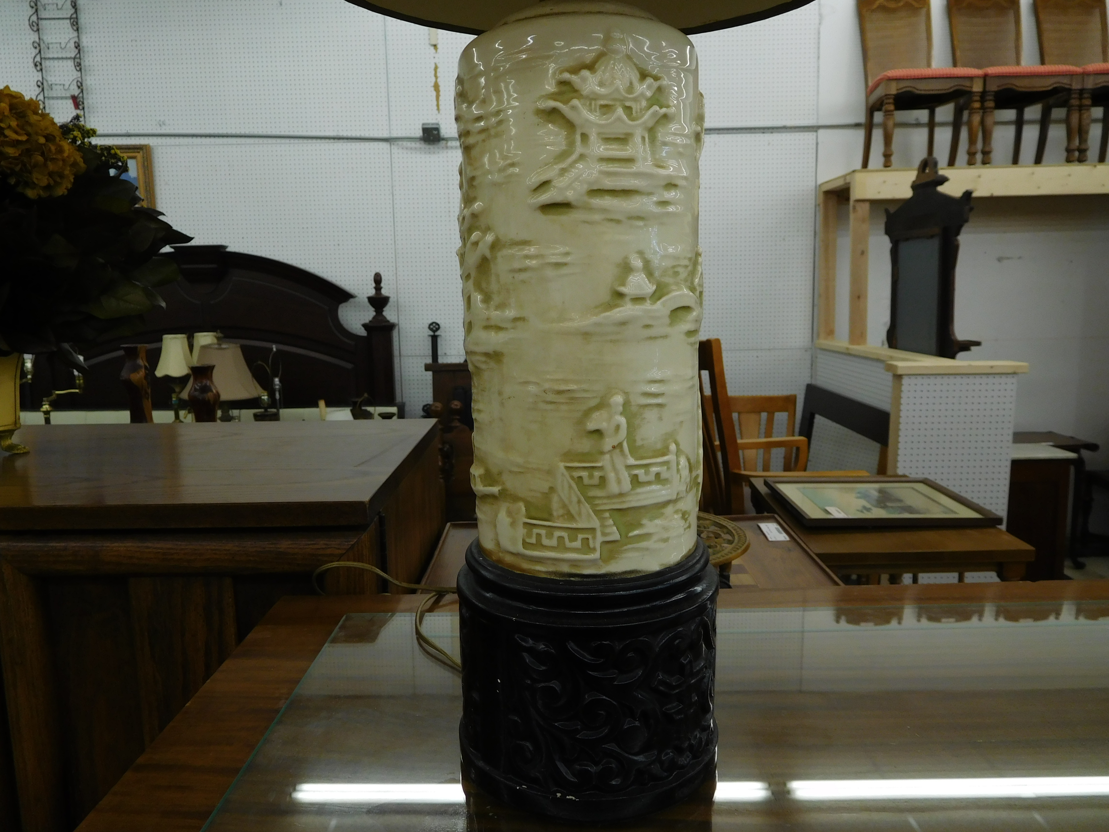 Vintage Ceramic Lamp with Sculpted Asian Design