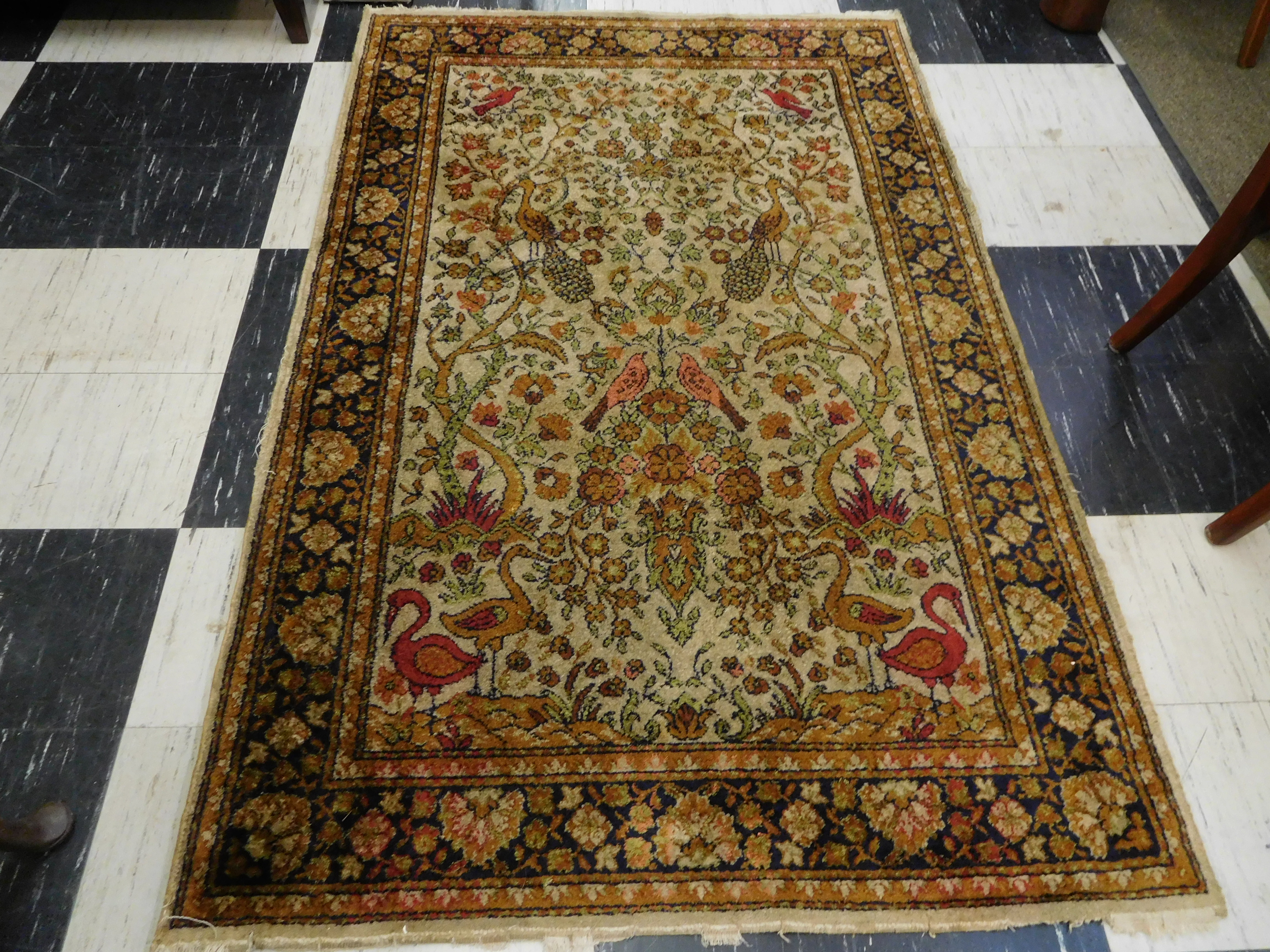 Vintage Hand Knotted Rug with