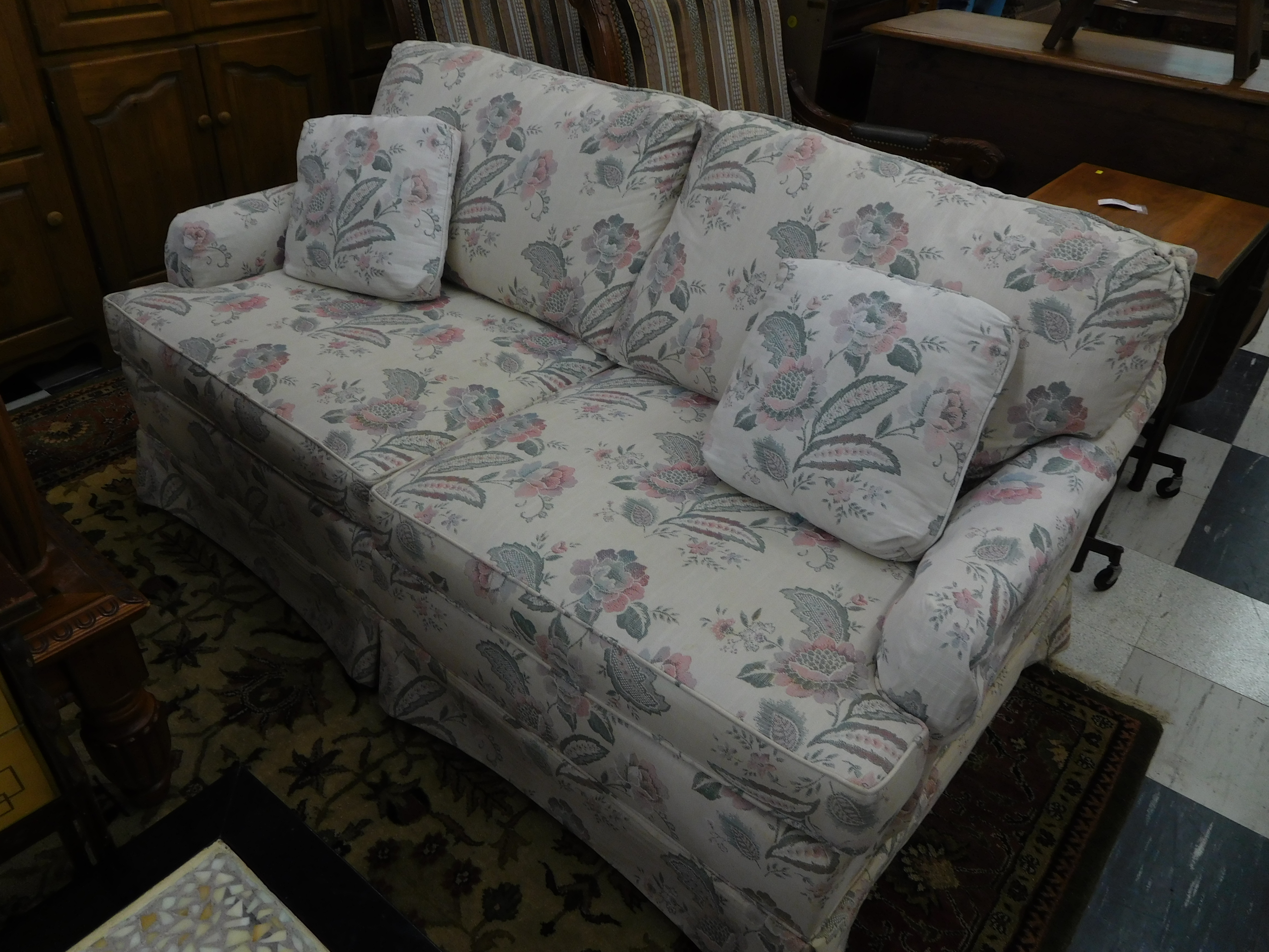 Grey and Rose Floral Sleeper Sofa