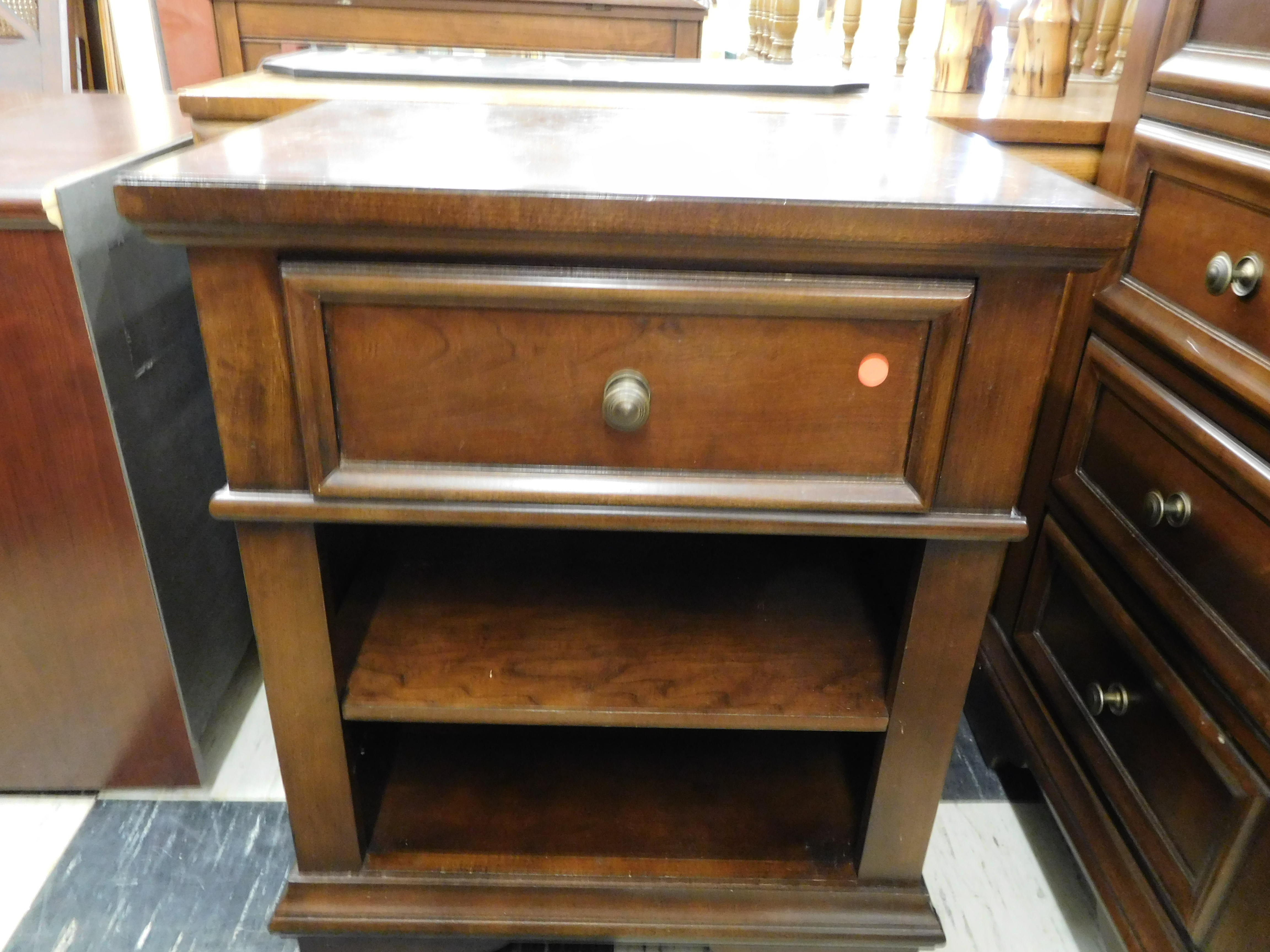 Walnut Stained Night Stand with Drawer and 2 Shelves
