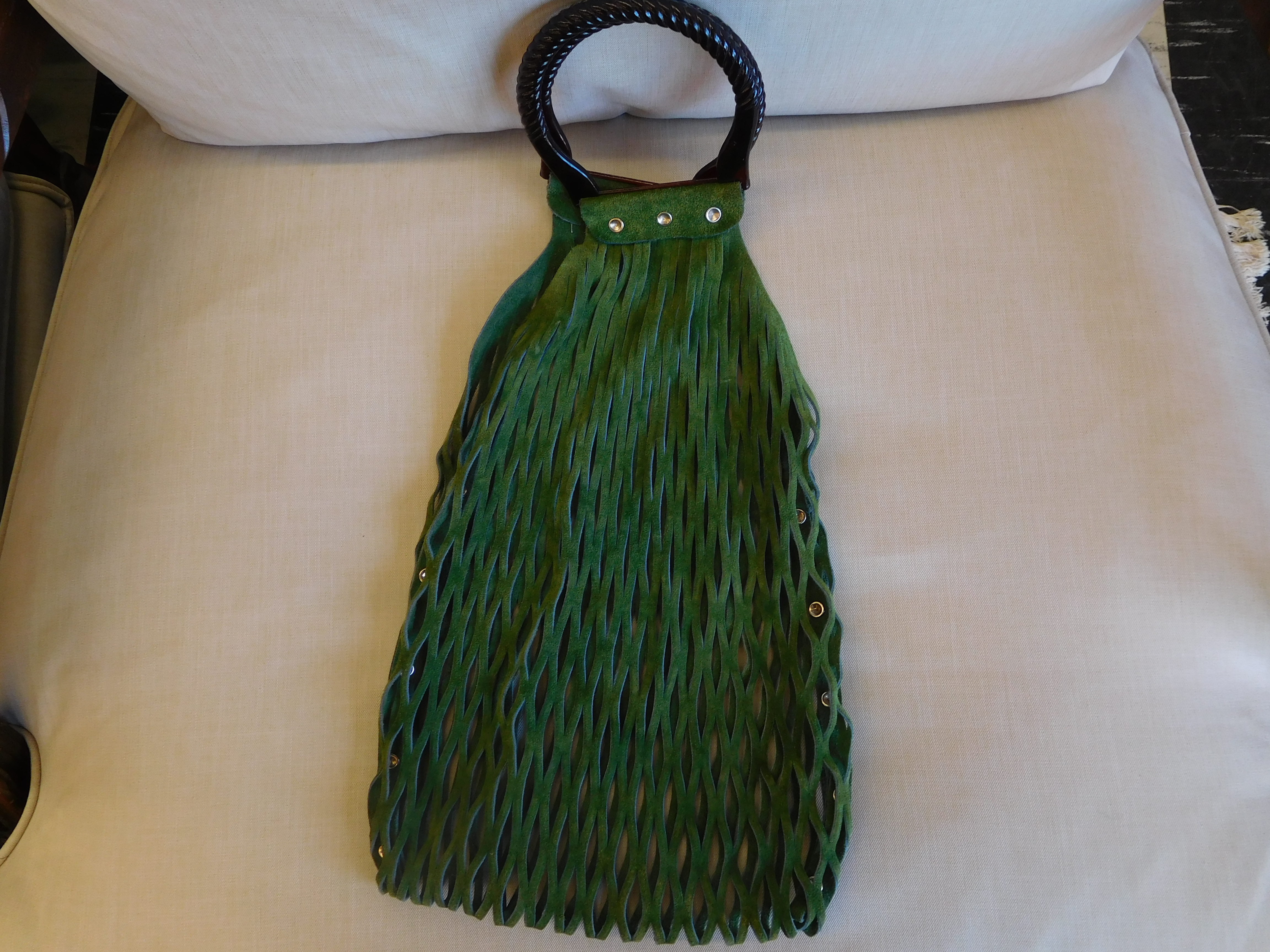 Woven Green Leather Hand Bag in Excellent Condition