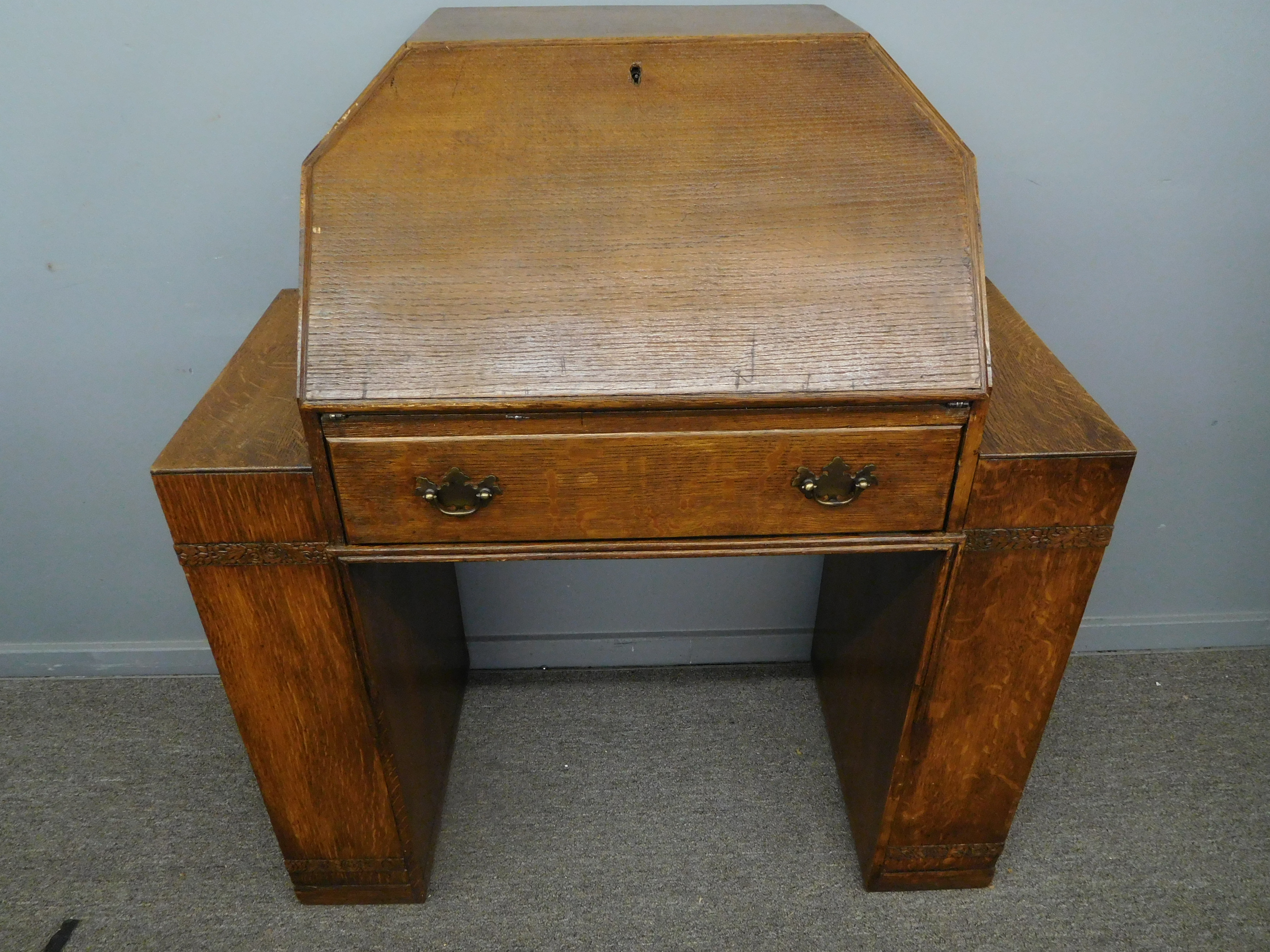 What a Sweetheart! 18th Century Tiger Oak Sec'y-Desk w/ Bookcase Sides
